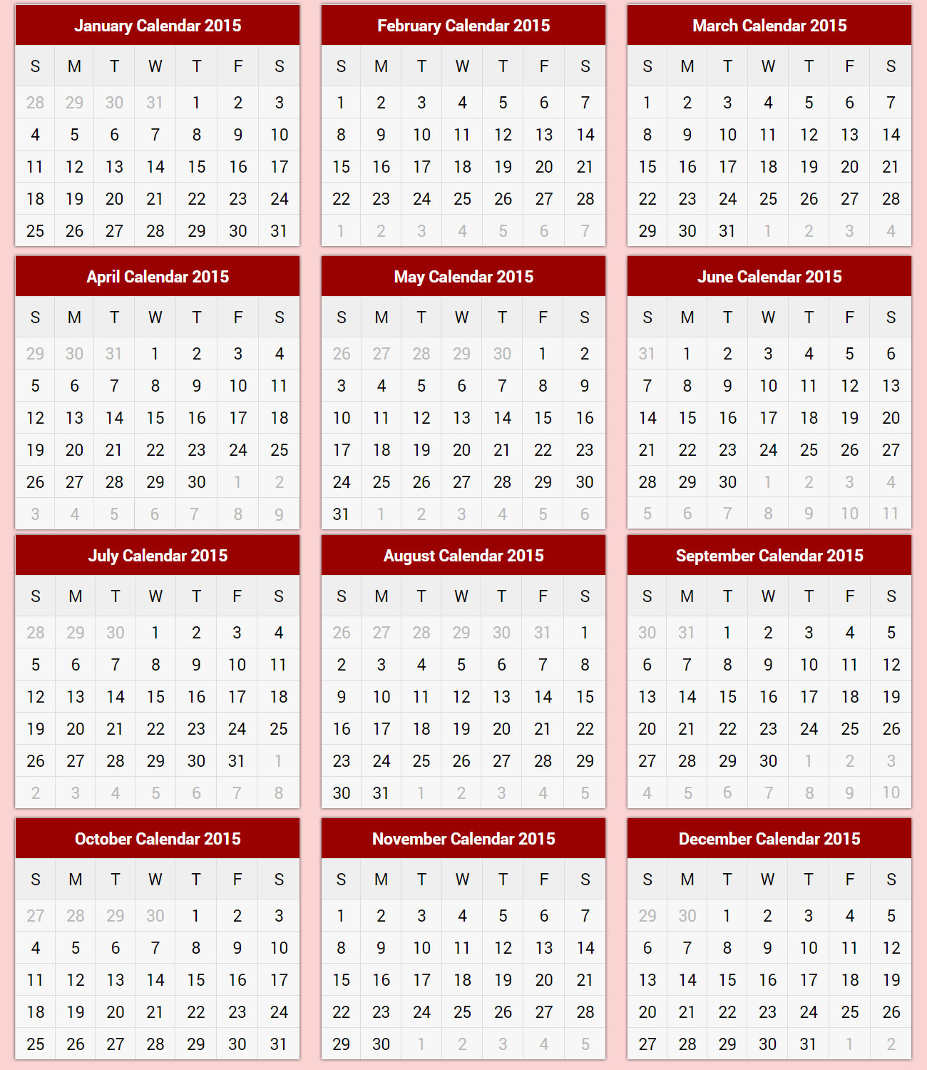 Printable Calendar 2015  2015 Printable Calendar for 1998 Calendar With Festivals