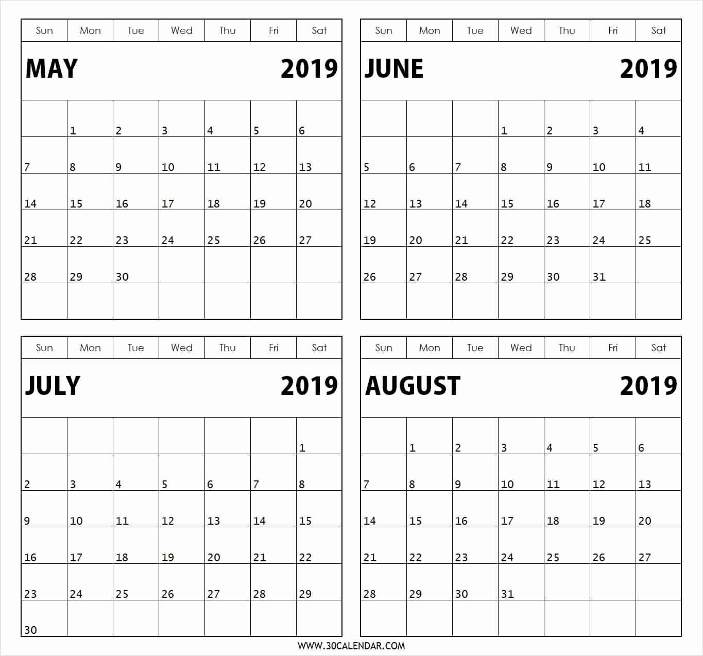 Printable Calendar 2019 2 Months Per Page | Printable4 inside Printable Calendar 4 Months Per Page