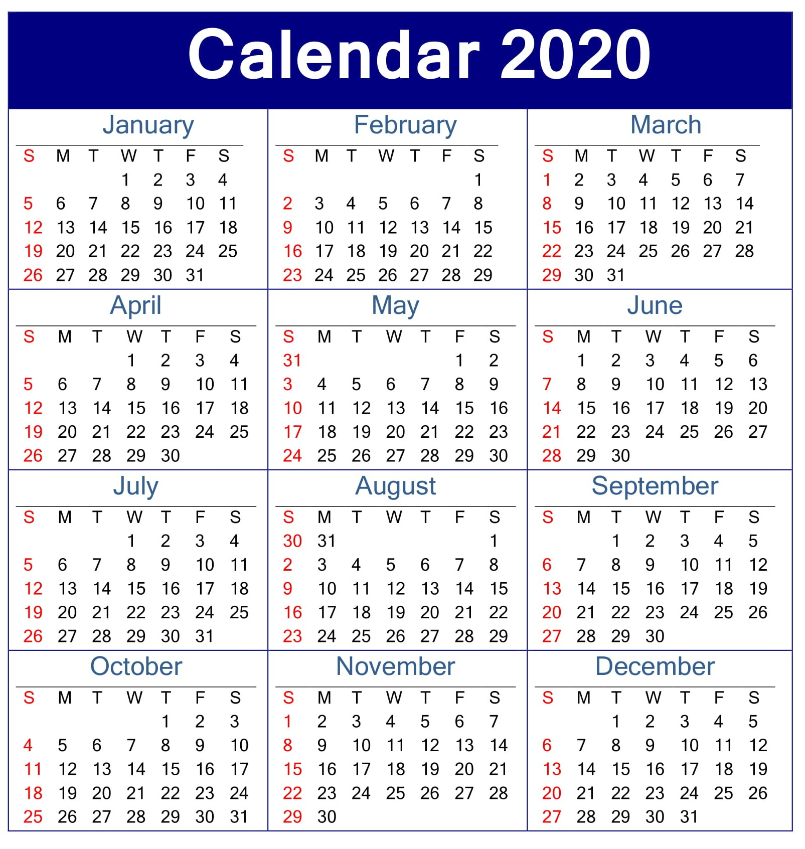 Printable Calendar 2020 Pdf Template – Free Latest Calendar inside Printable Calander 2020