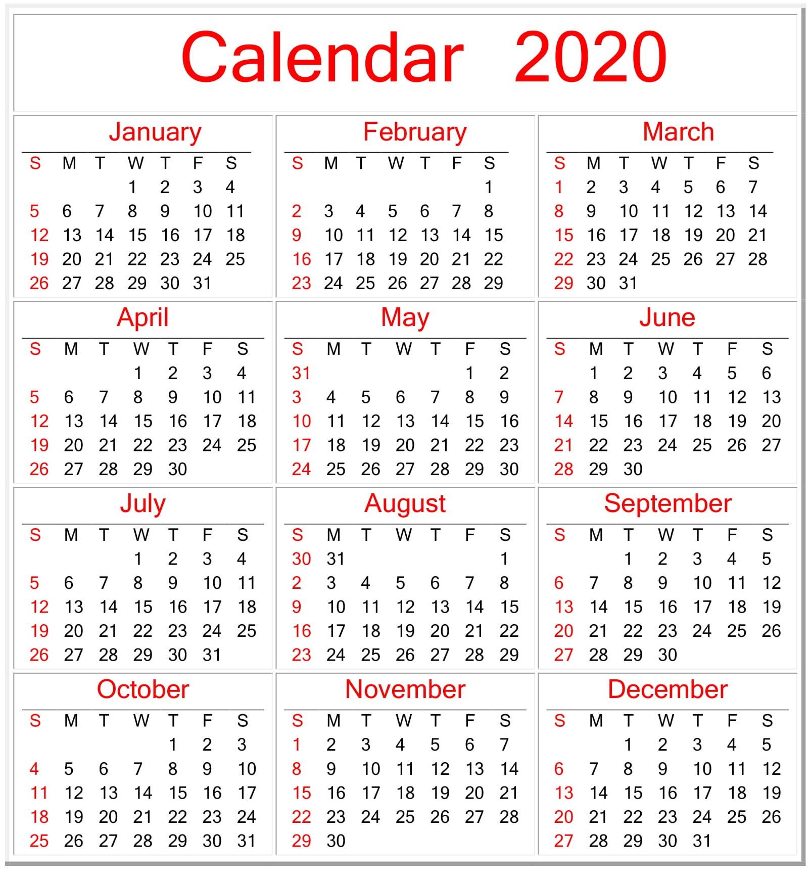 Printable Calendar 2020 Pdf Template – Free Latest Calendar intended for Free Printable 2020 Attendance Calendar