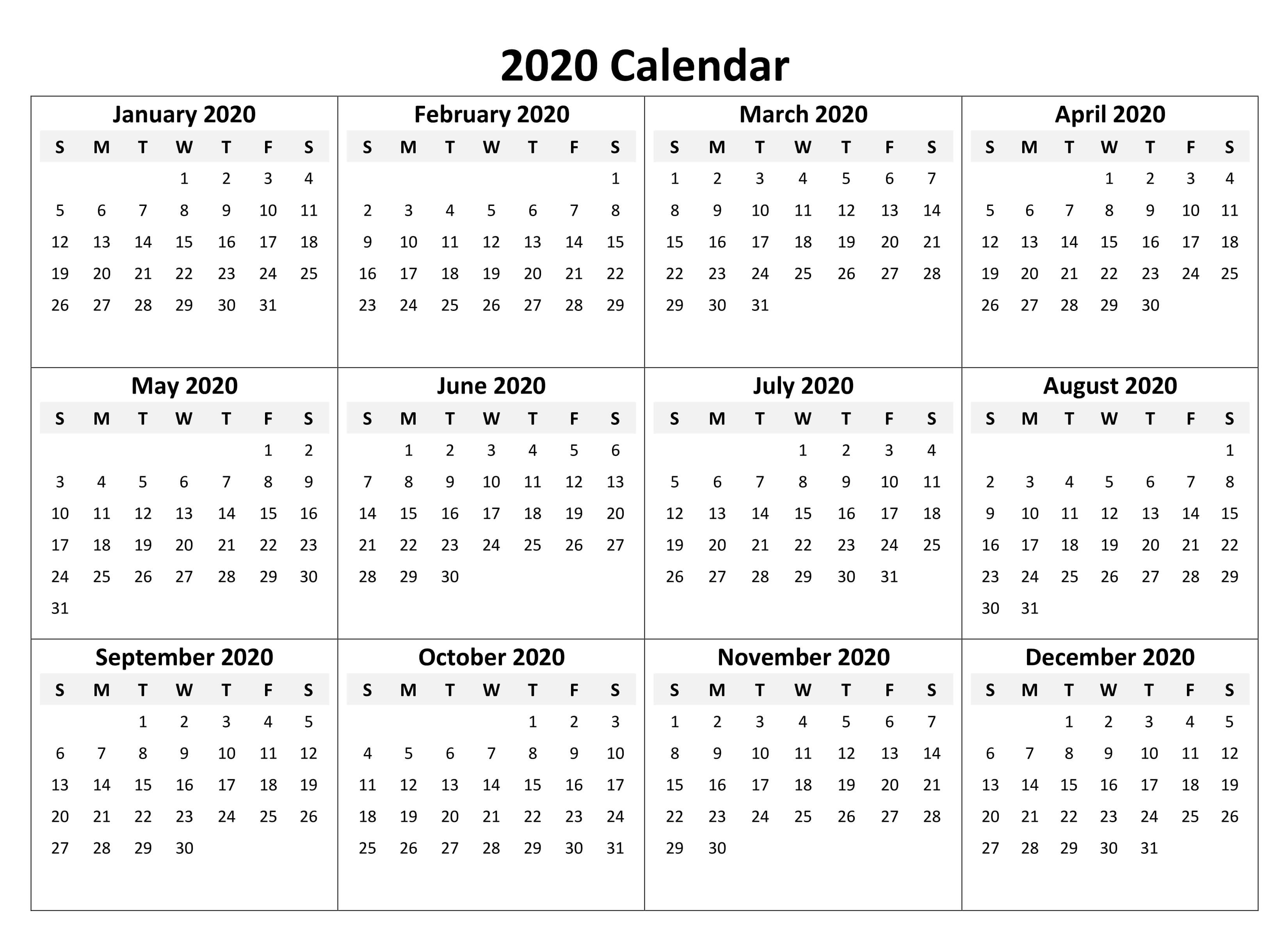 Printable Calendar 2020 With Notes  2019 Calendars For intended for 2020 Year At A Glance Printable