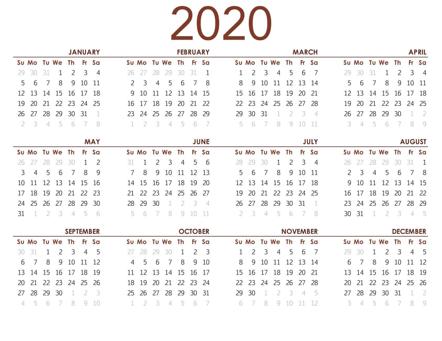 Printable Calendar 2020 With Notes  2019 Calendars For regarding Printable 12 Month 2020 Calendar