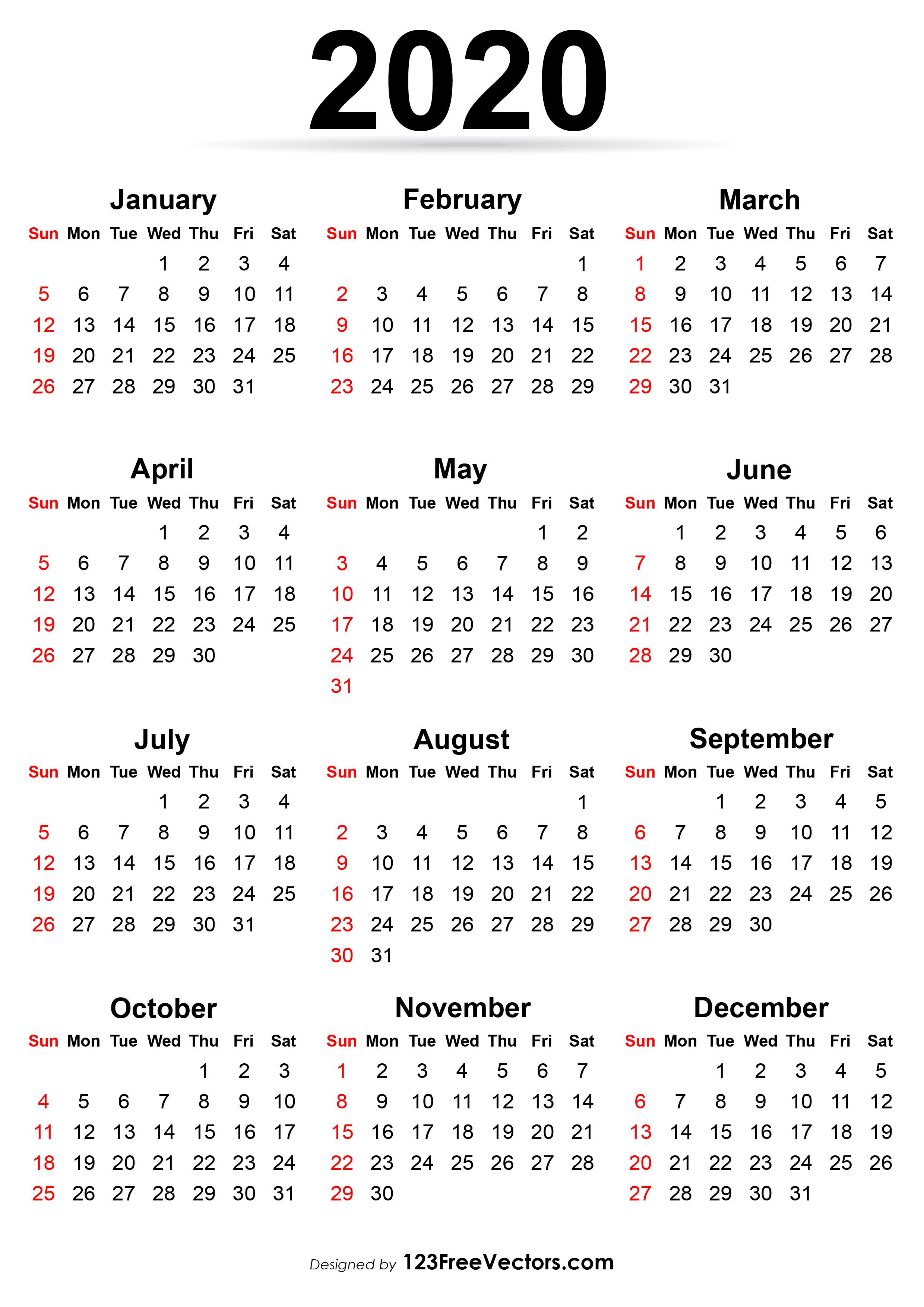 Printable Calendar 2020 with regard to Printable Calander 2020