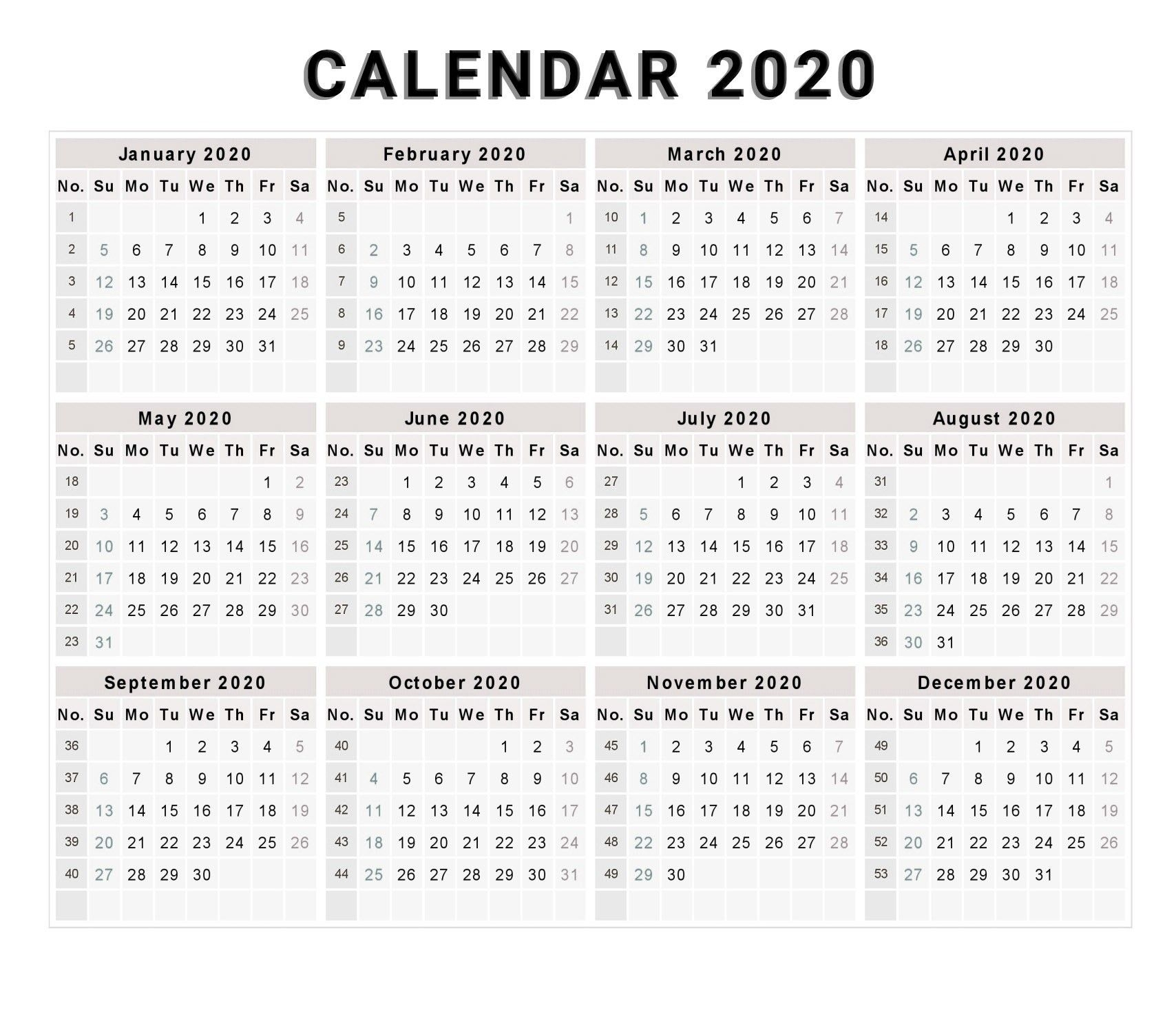 Printable Calendar 2020 With Week Numbers | Monthly inside Printable Calendar By Week