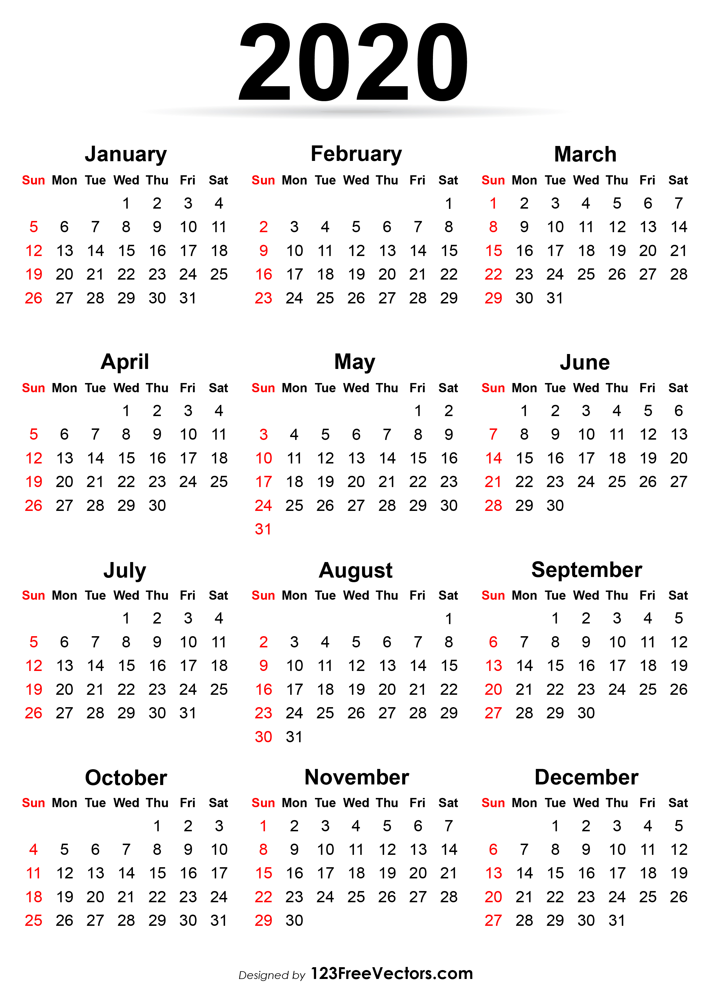 Printable Calendar 2020 within Printable 2020 Calander