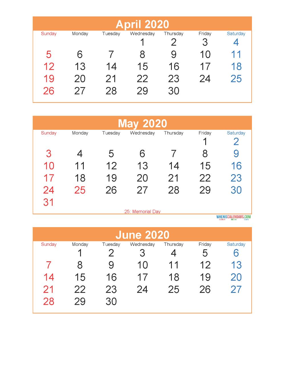 Printable Calendar April May June 2020 3 Months Per Page intended for Printable Calendar 2020 3 Months Per Page