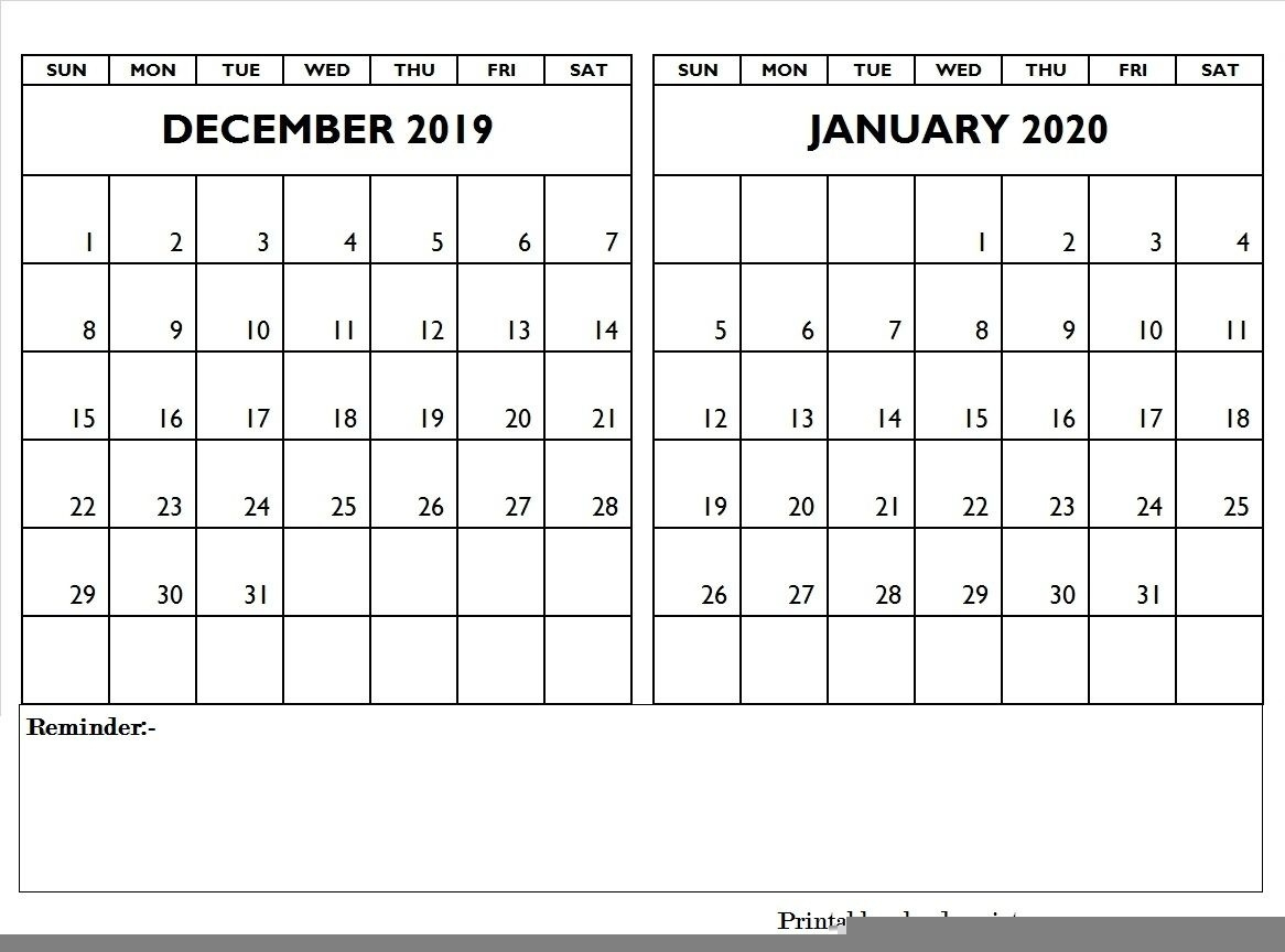 Printable Calendar December 2019 And January 2020 | Calendar within Writable December 2020 Calendar