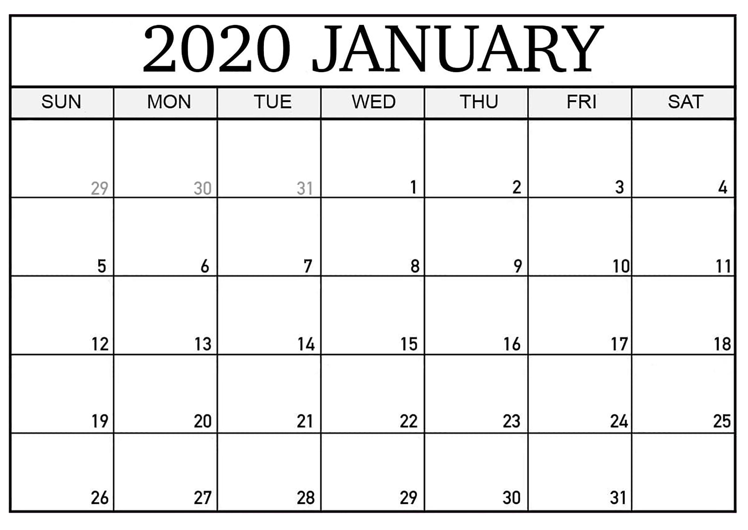 Printable Calendar January 2020 Pdf  2019 Calendars For intended for Blank January Calendar 2020