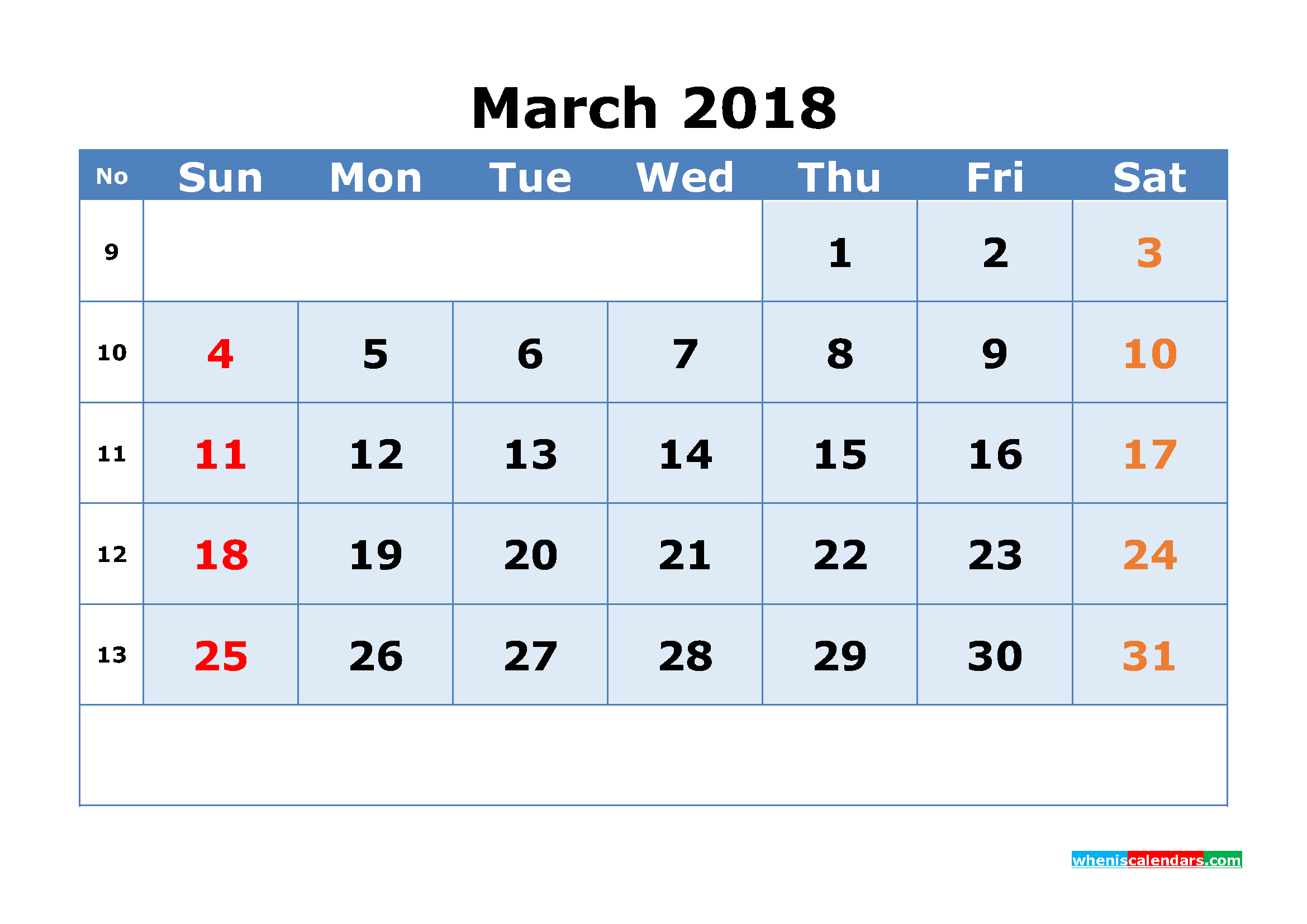 Printable Calendar March 2018 With Week Numbers As, Image inside Printable Calendar By Week