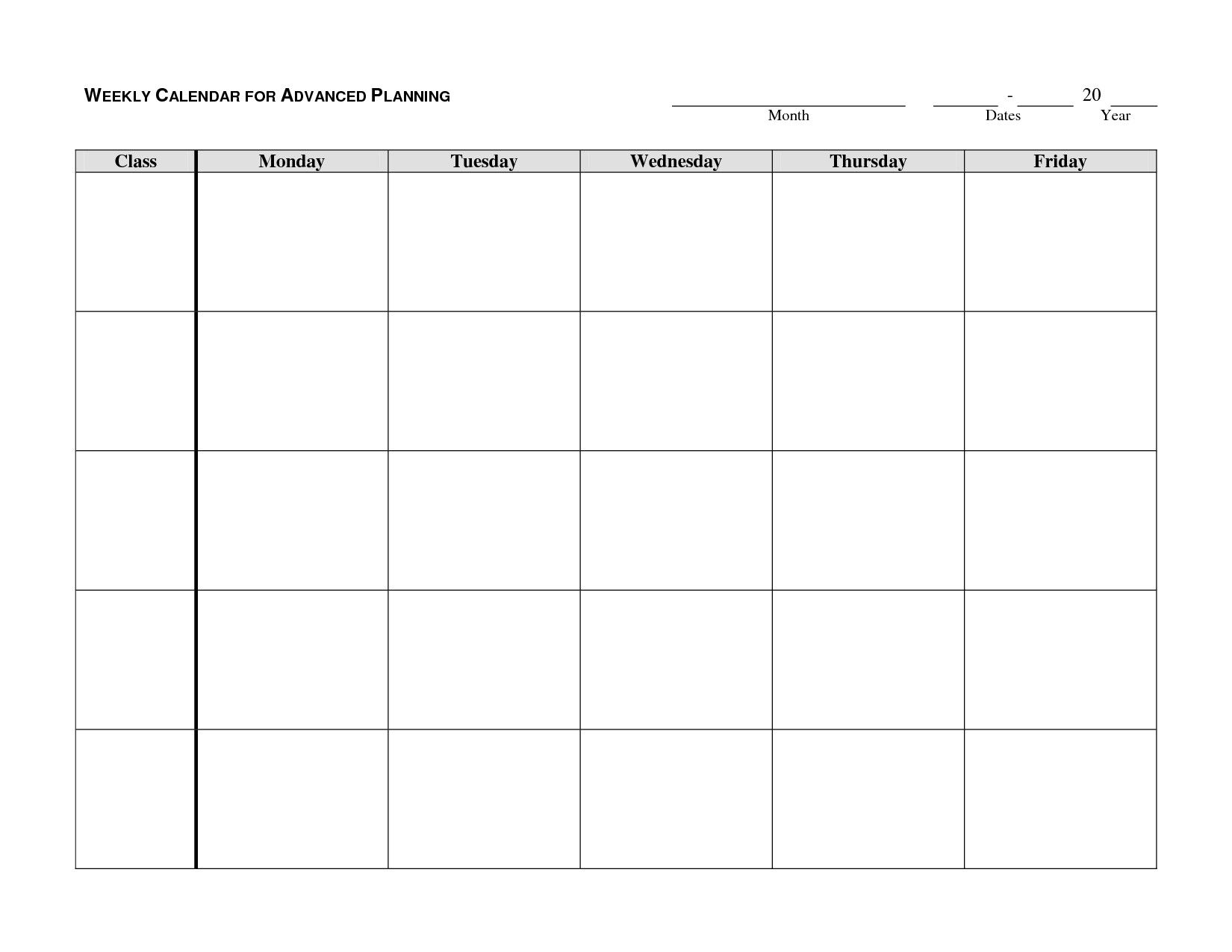 Printable Calendar Monday Through Friday  Yolar.cinetonic pertaining to Blank Calendar Template Monday Through Friday