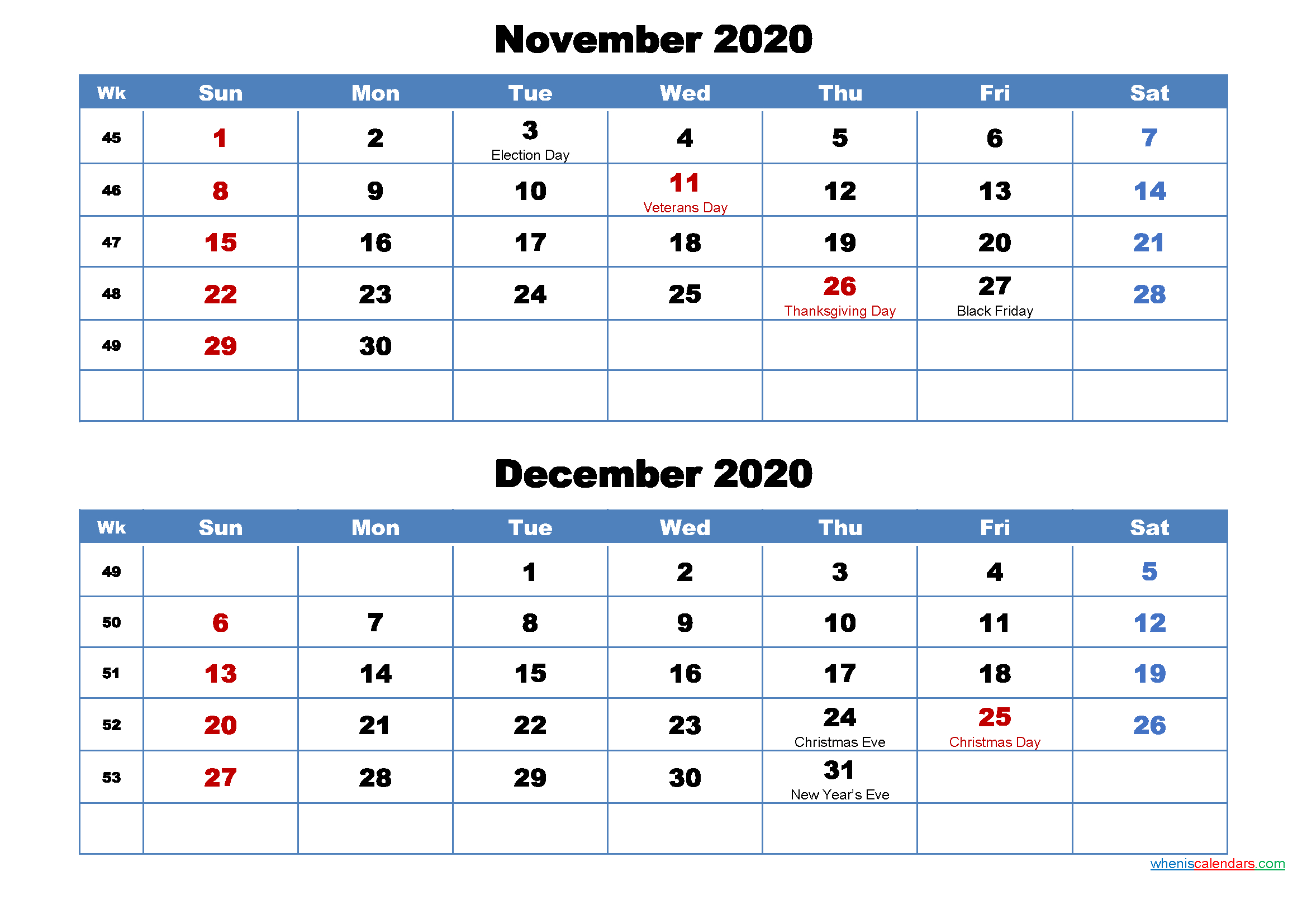 Printable Calendar November And December 2020 Word, Pdf regarding Two Month Calendar November December 2020