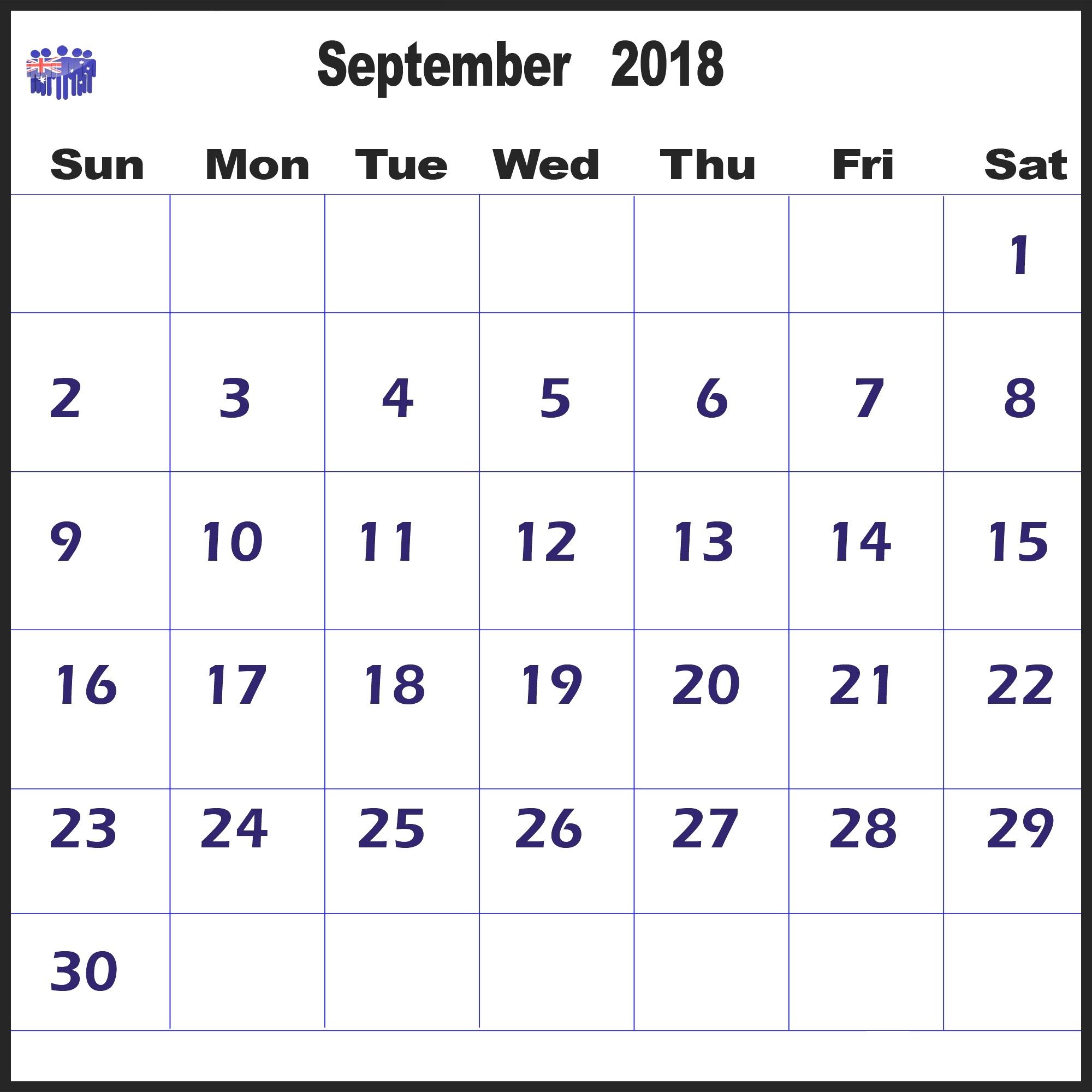 Printable Calendar September 2018 Australia – Printable 2019 inside 2018 Calendar Australia Printable
