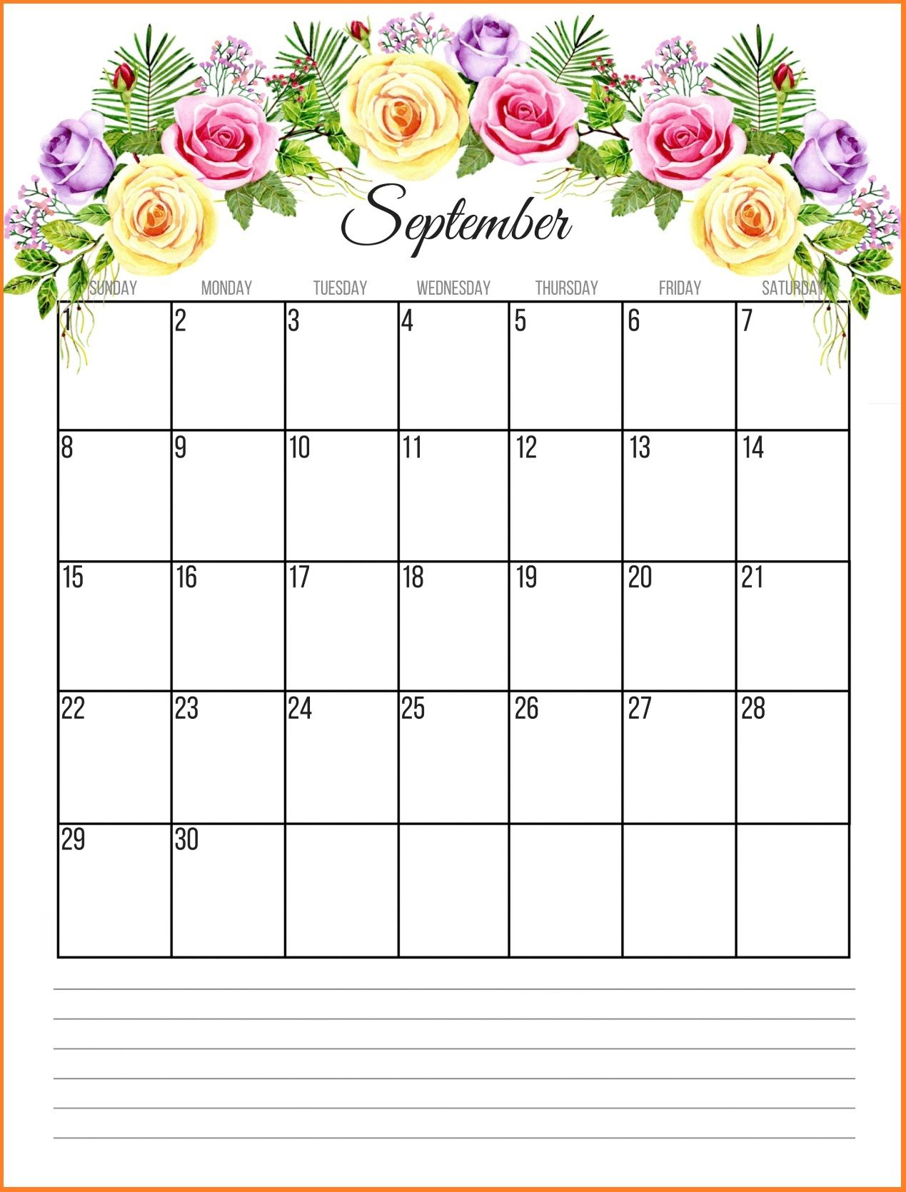 Printable Calendar September 2018 Floral Calendar | Juli with regard to Disney Printable Calendar