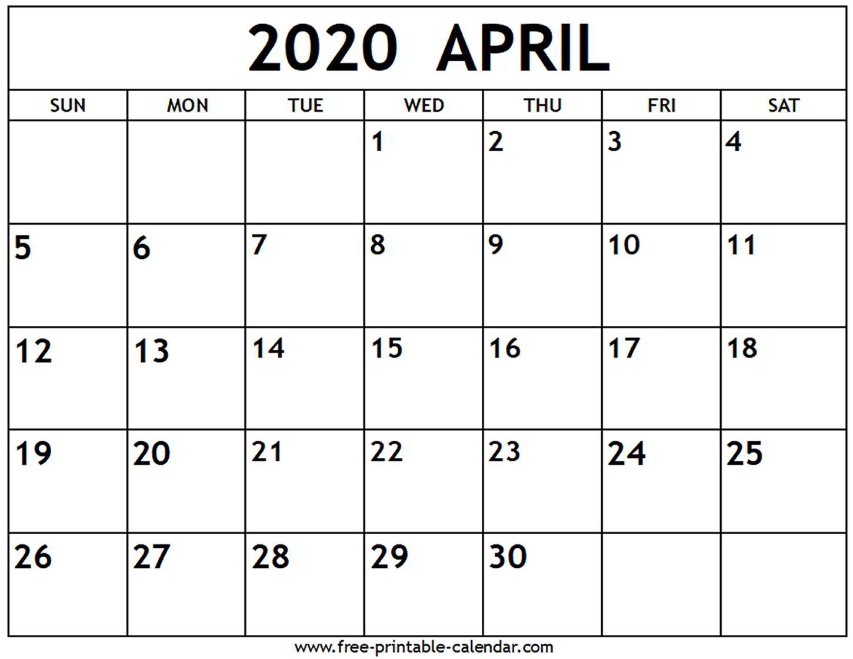 Printable Calendars April 2020  Bolan.horizonconsulting.co inside April 2020 Printable Calendar