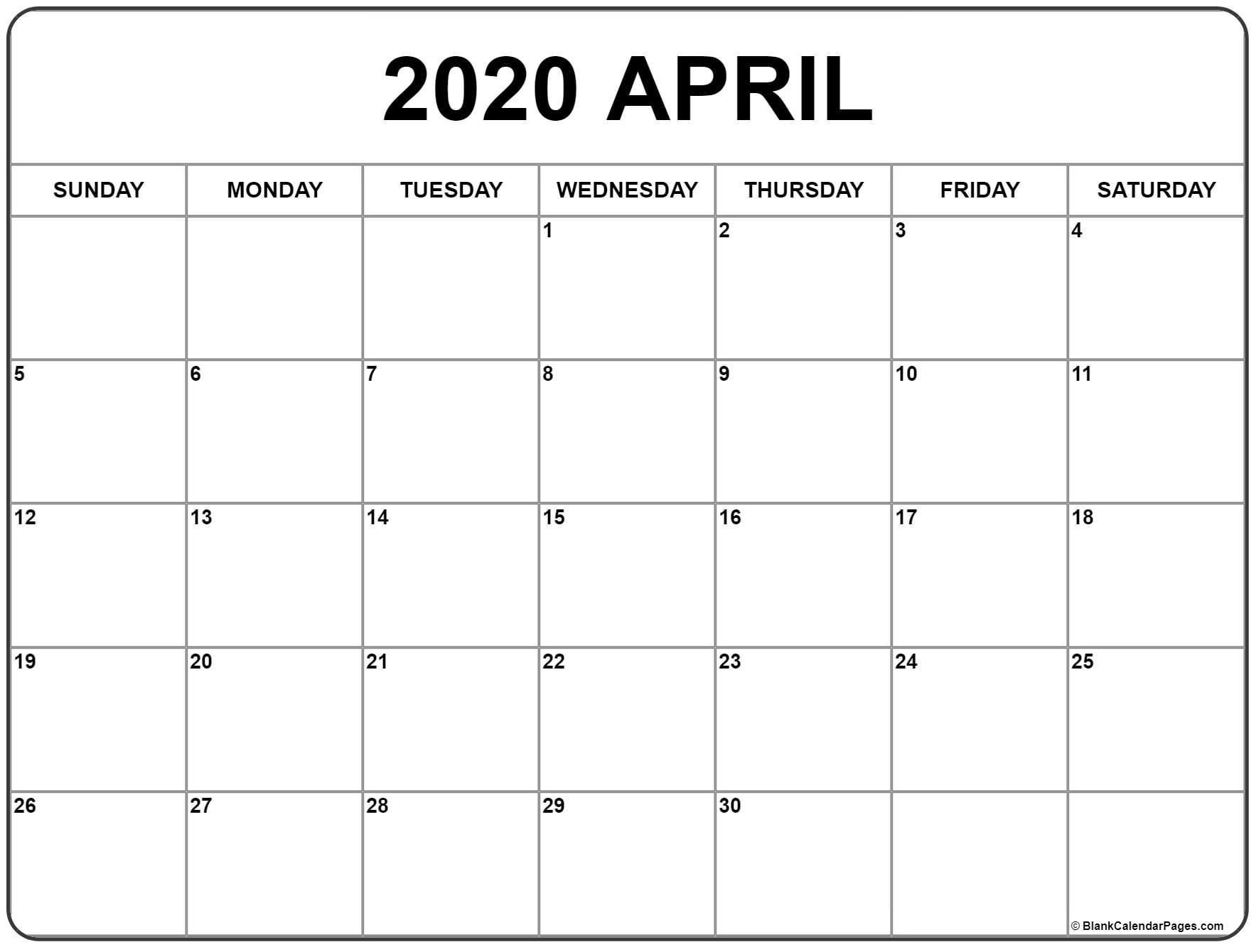 Printable Calendars April 2020  Bolan.horizonconsulting.co inside Free Printable April 2020 Calendar