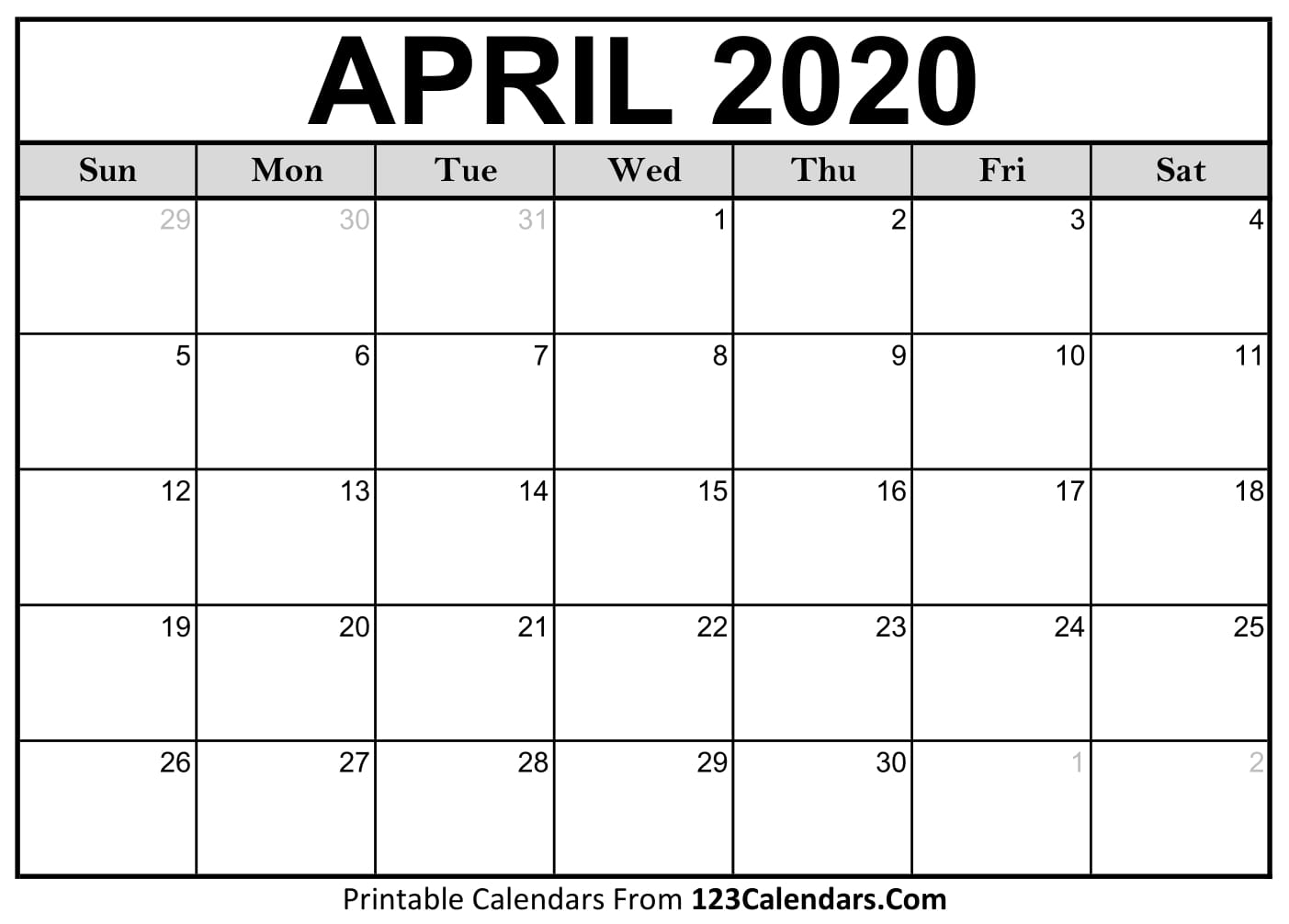 Printable Calendars April 2020  Bolan.horizonconsulting.co pertaining to April 2020 Printable Calendar