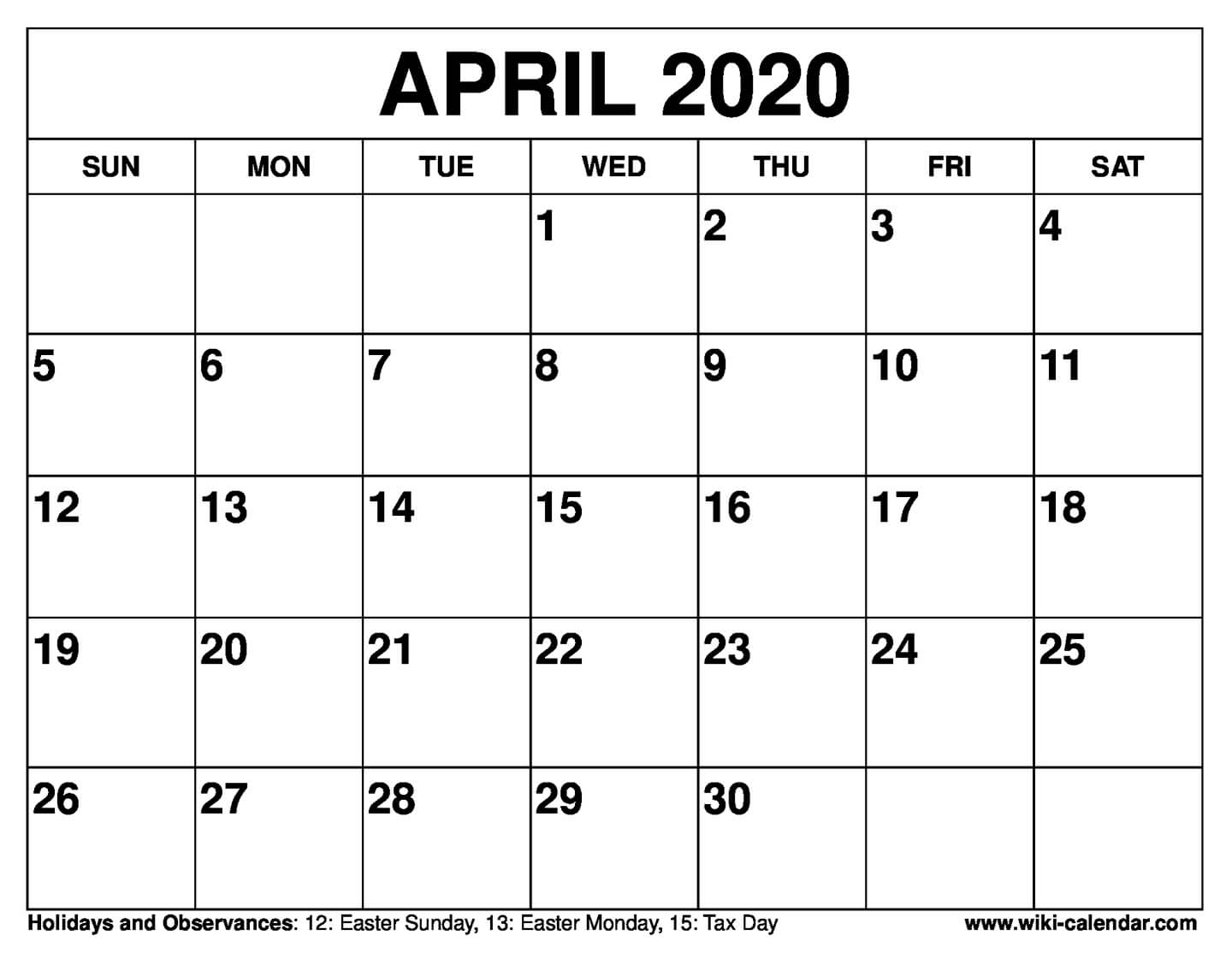 Printable Calendars April 2020  Bolan.horizonconsulting.co pertaining to Free Printable April 2020 Calendar