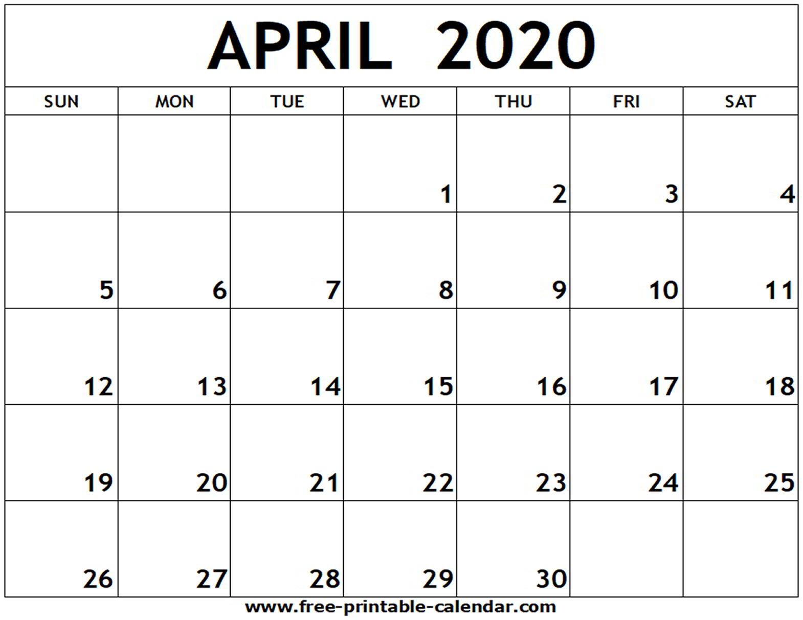 Printable Calendars April 2020  Bolan.horizonconsulting.co regarding Free Printable April 2020 Calendar