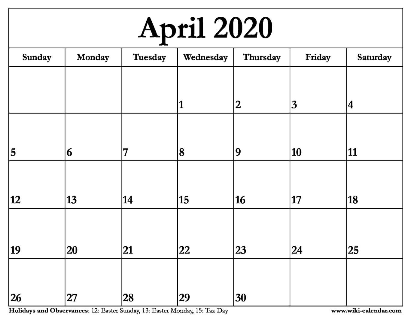 Printable Calendars April 2020  Bolan.horizonconsulting.co with Free Printable April 2020 Calendar