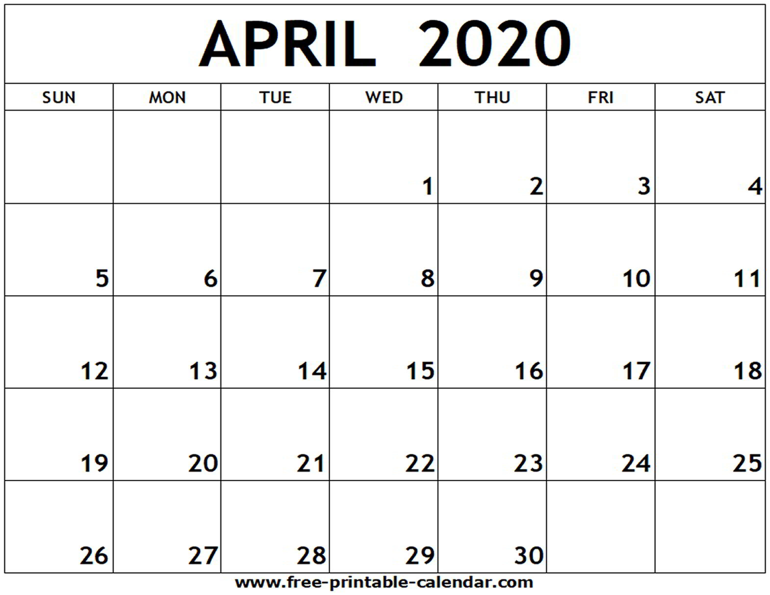 Printable Calendars April 2020  Bolan.horizonconsulting.co within April 2020 Printable Calendar