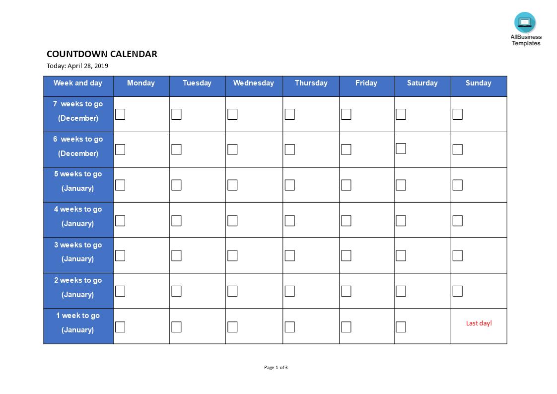 Printable Countdown Calendar | Templates At with regard to 2 Week Blank Calendar Printable