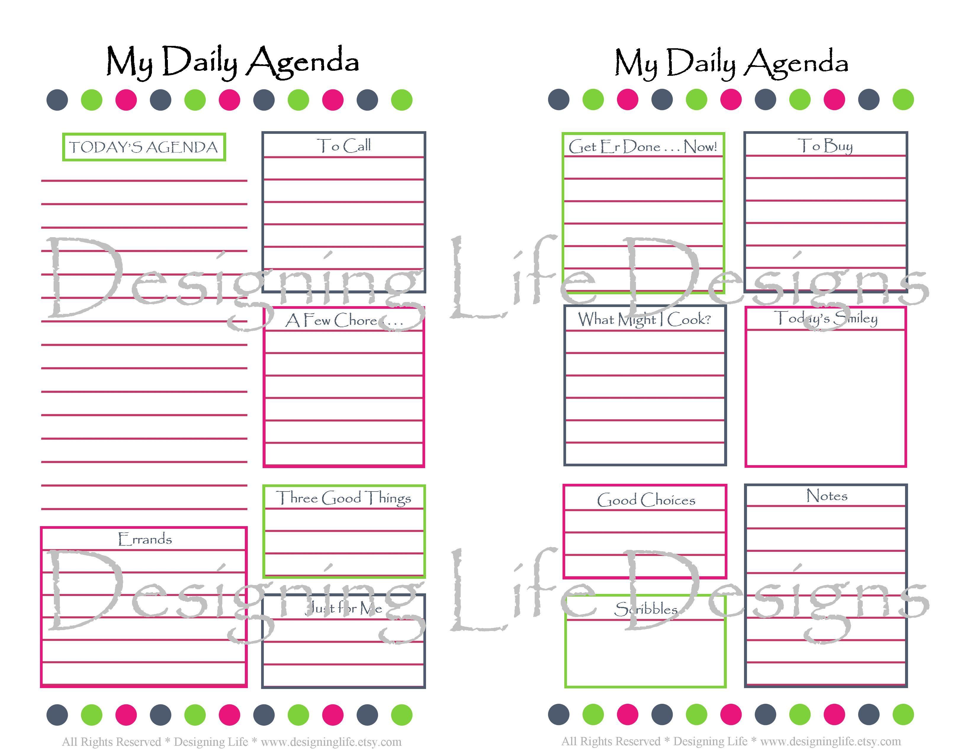 Printable Day Planner  5.5 X 8.5  24 Sheets For Mini regarding Printable Calendar 5.5 X 8.5