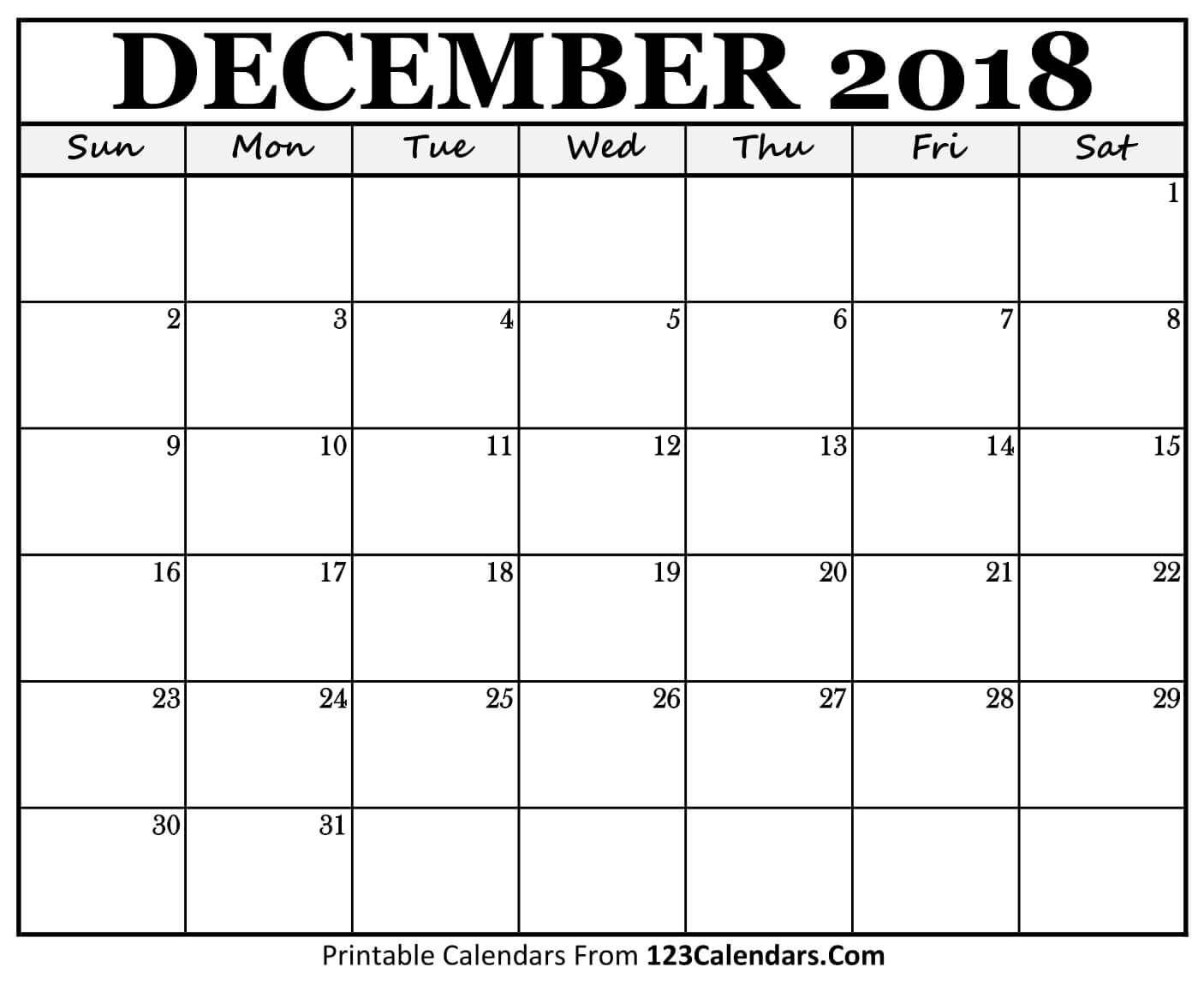 Printable December 2018 Calendar Templates  123Calendars with Printable Calendars From 123Calendars