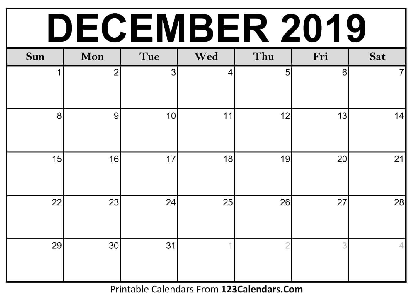 Printable December 2019 Calendar Templates  123Calendars with 123 Calendars January 2020