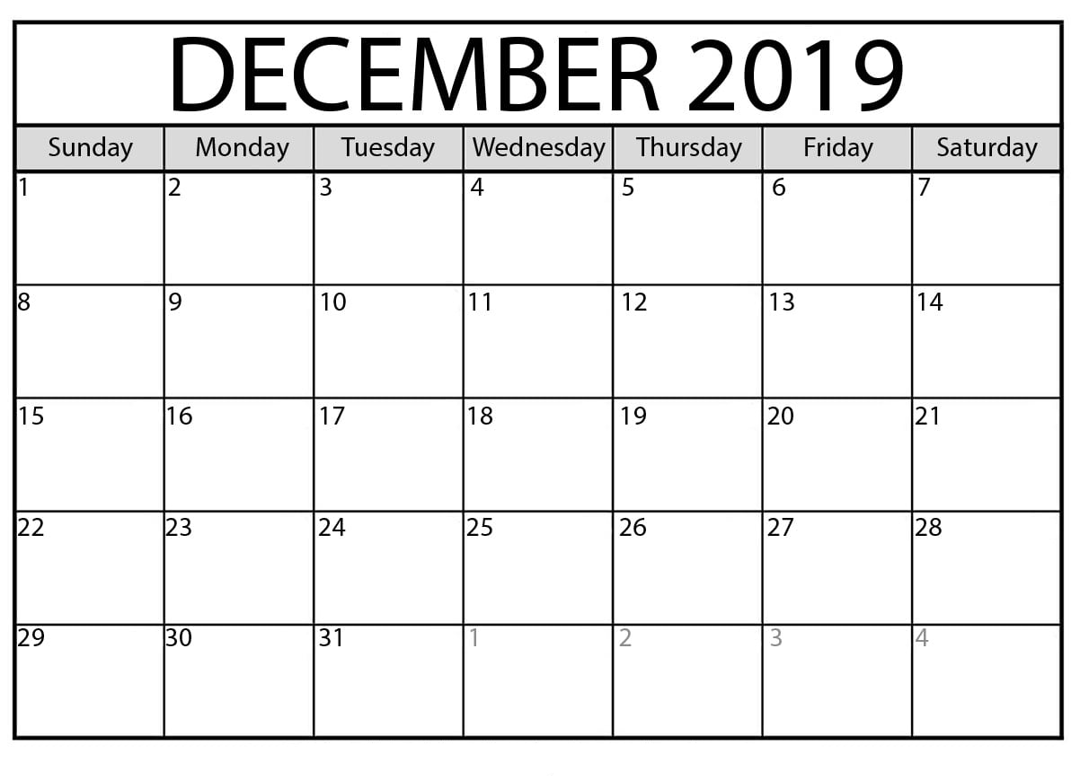 Printable December 2019 Calendar – Waterproof Paper in Waterproof Calendar January 2020