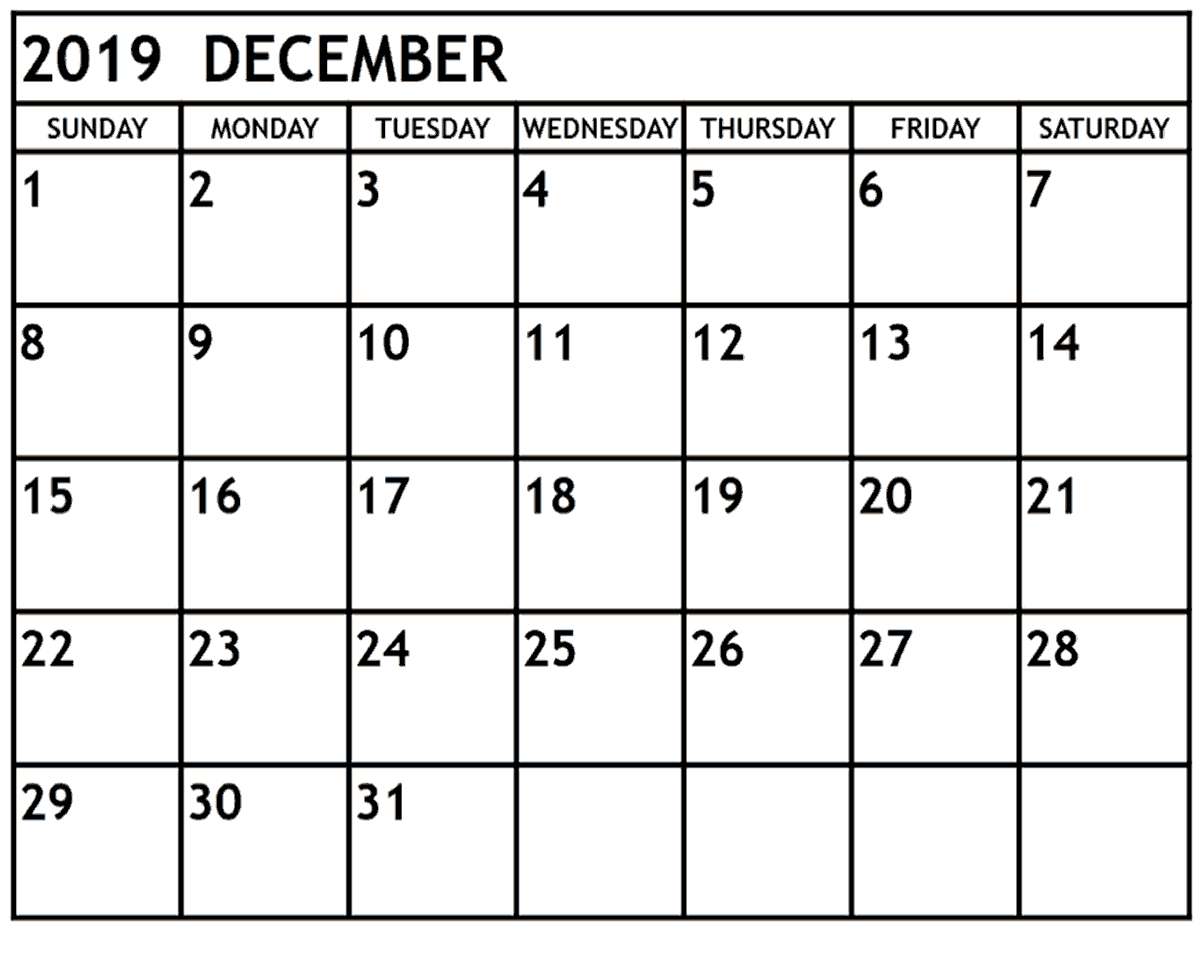 Printable December 2019 Calendar – Waterproof Paper with January 2020 Waterproof Calendar