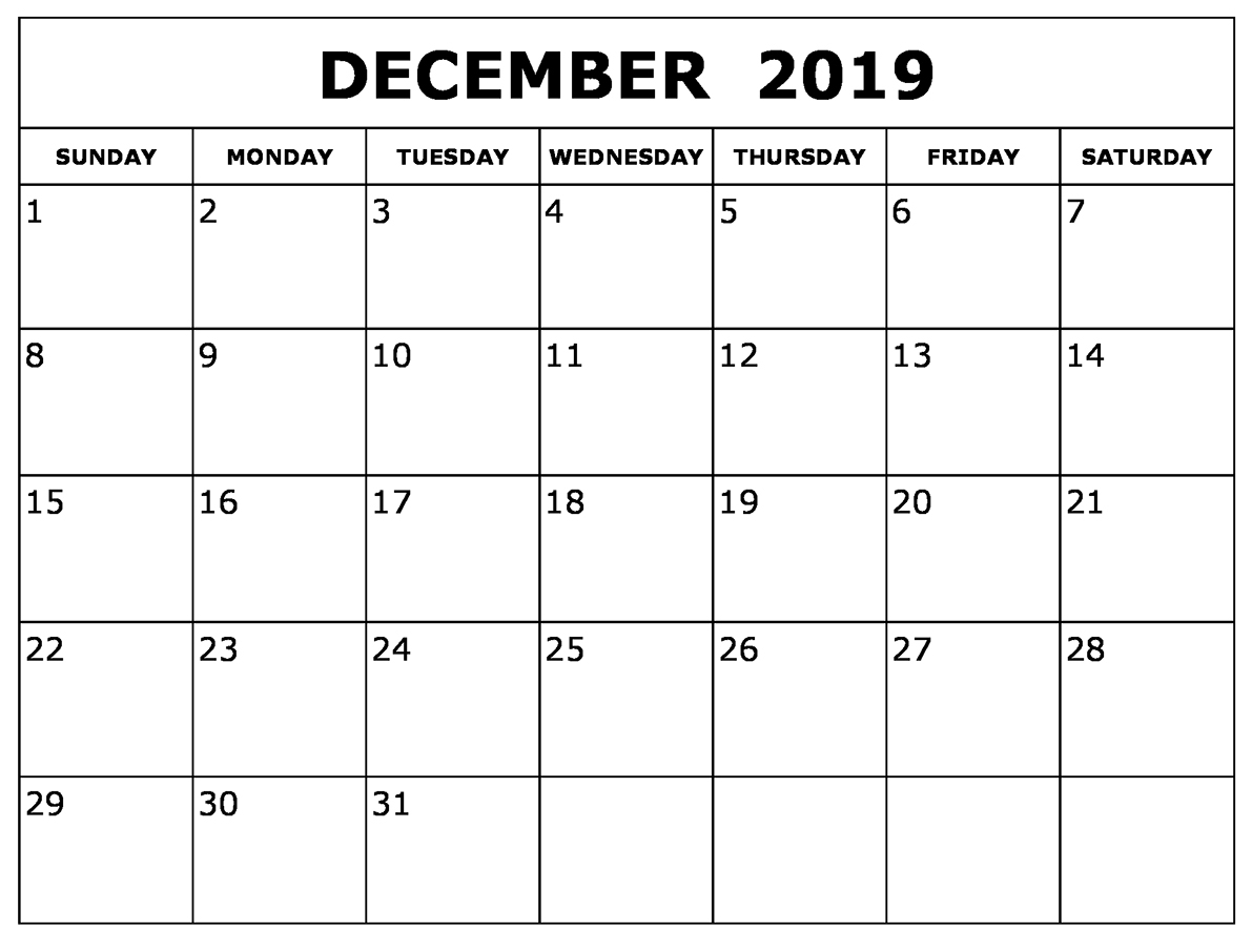 Printable December 2019 Calendar – Waterproof Paper with Waterproof Calendar January 2020