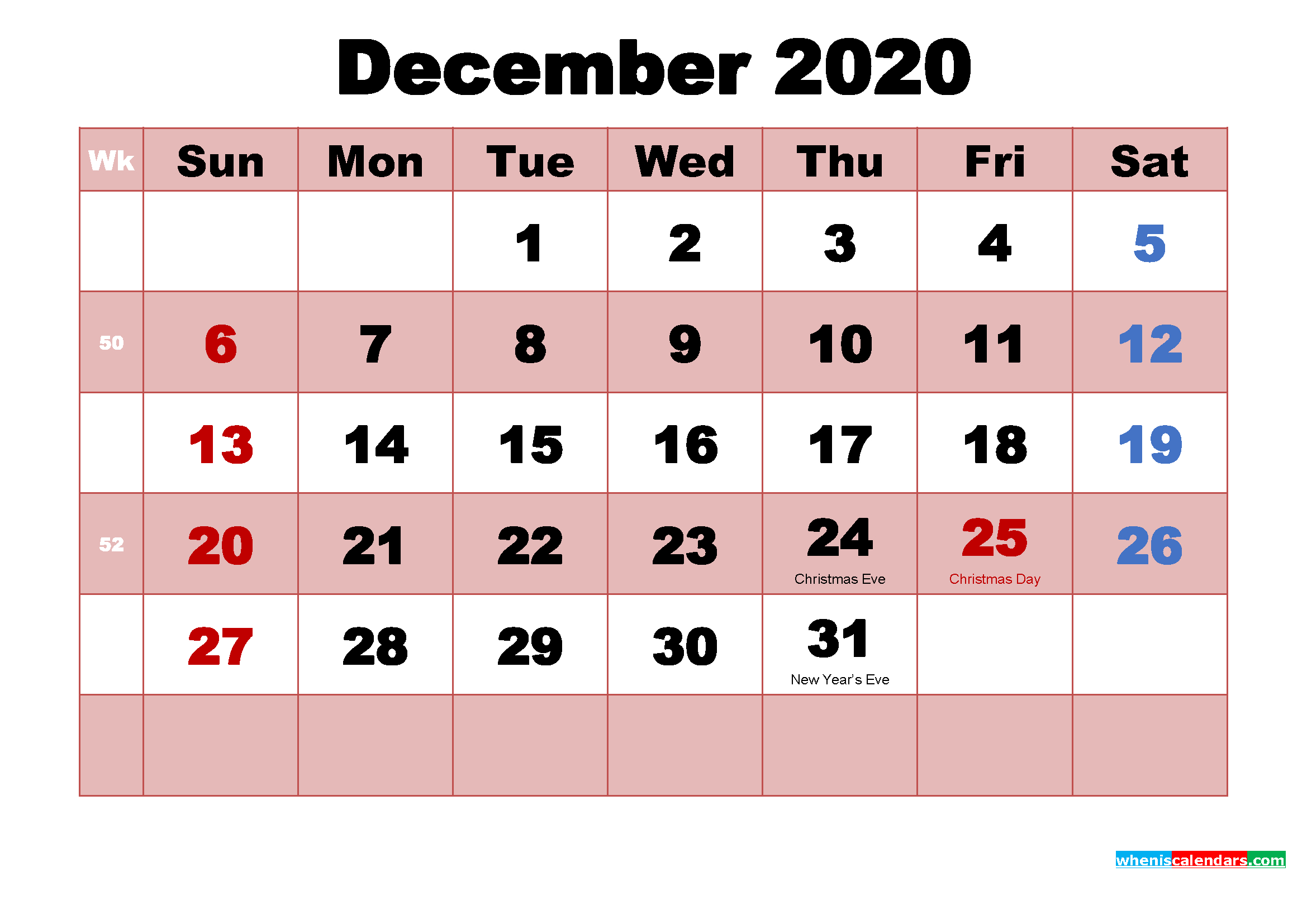 Printable December 2020 Calendar Word | Free Printable 2020 throughout Printable December Calender 2020