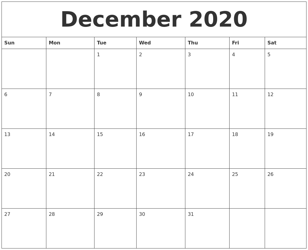 Printable Editable 2020 December Calendar | Monthly within Calendar 2020 December