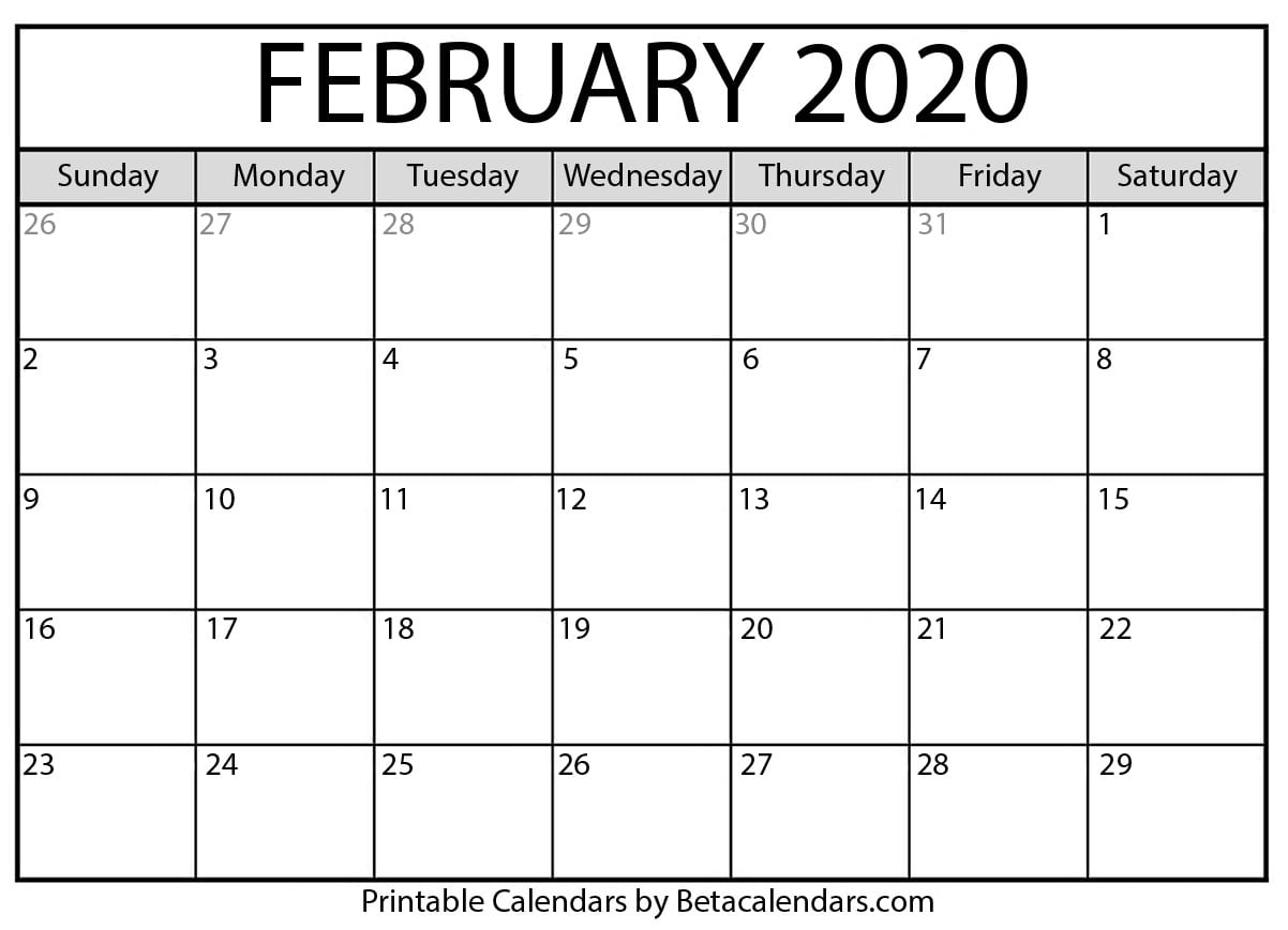 Printable February 2020 Calendar  Beta Calendars regarding 2020 Calendar February And March