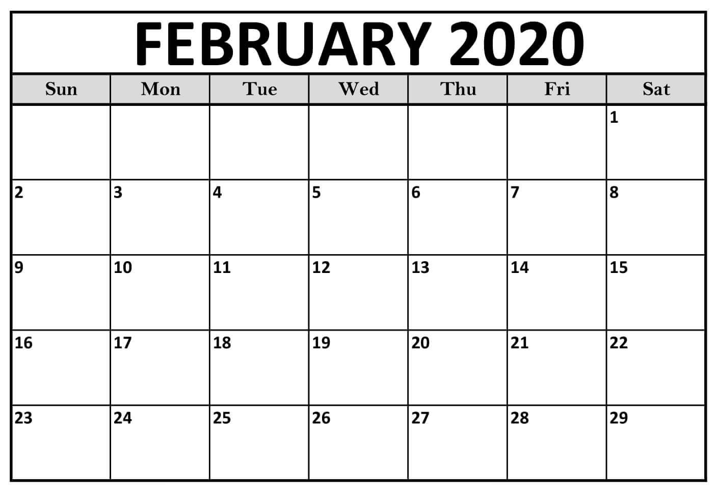 Printable February 2020 Calendar Notes  2019 Calendars For intended for Feb 2020 Calendar