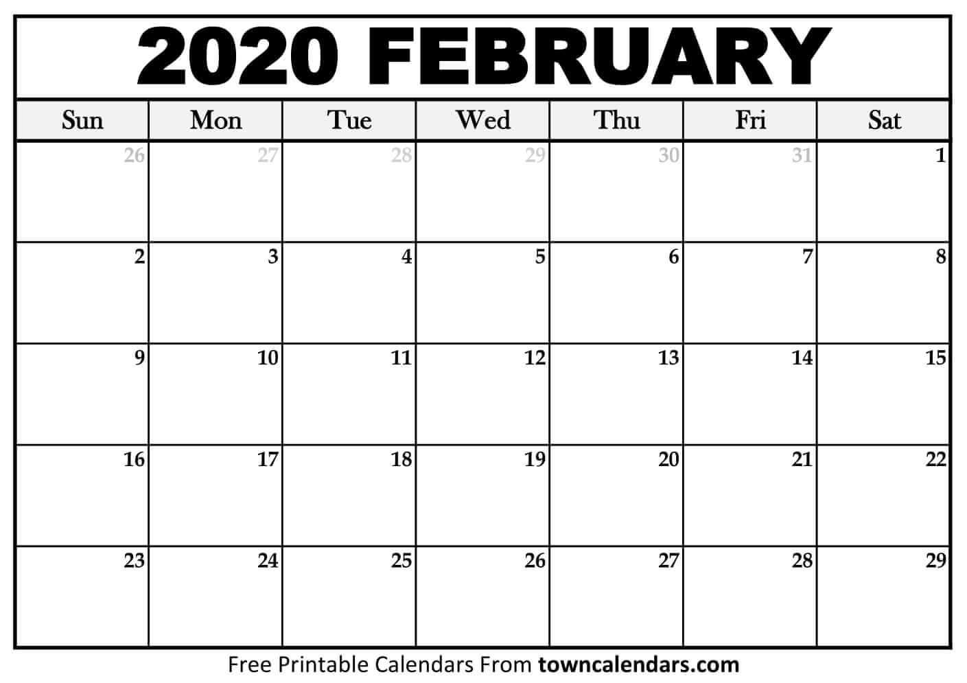 Printable February 2020 Calendar  Towncalendars for Feb 2020 Calendar