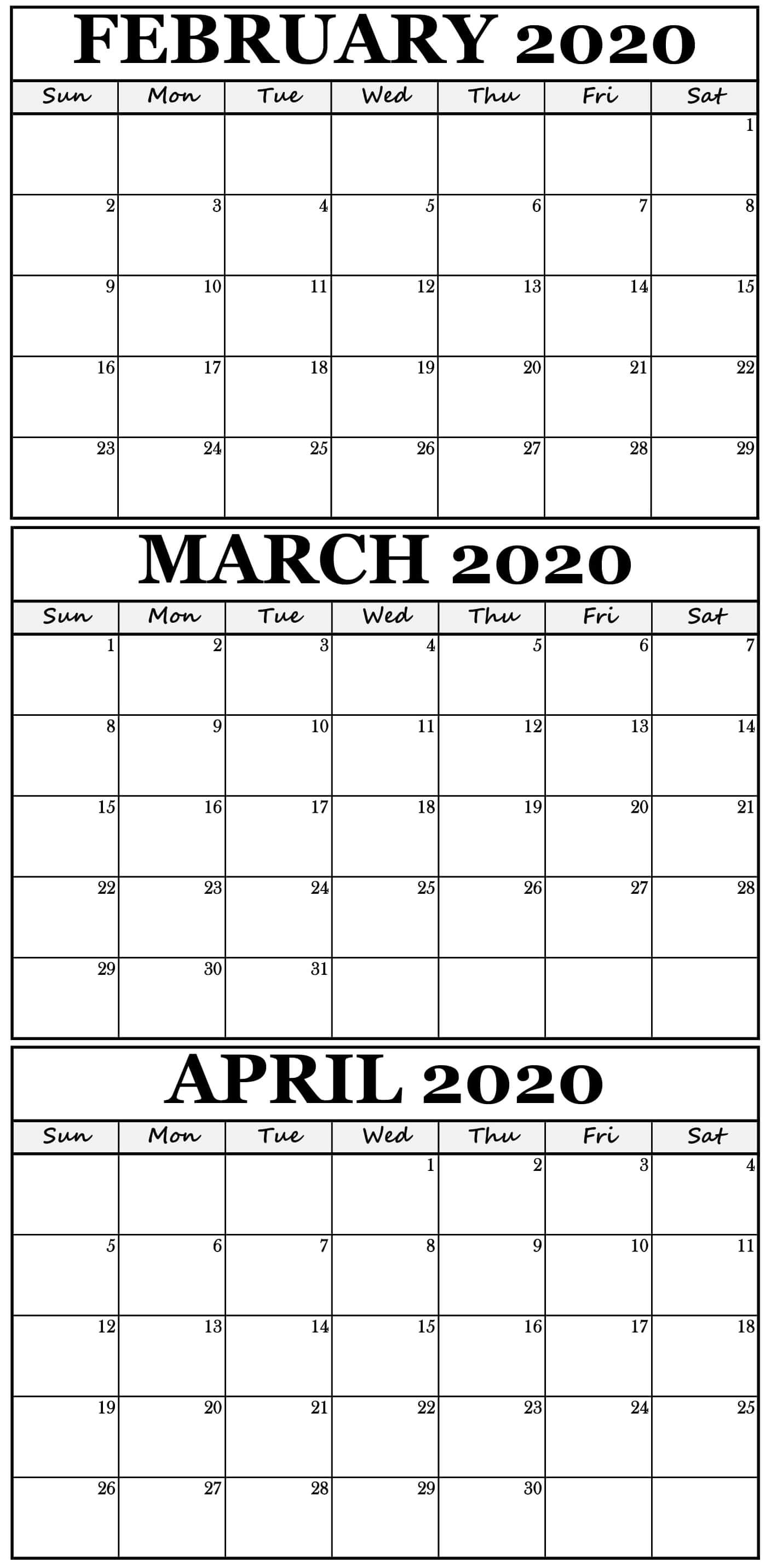 Printable February To April 2020 Calendar With Holidays throughout 3 Month Printable Calendar 2020