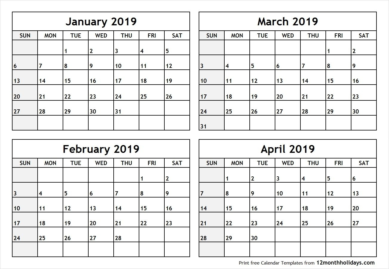 Printable Four Months Per Page 2020 Calendar | Example4 within 4 Month Calendar Template