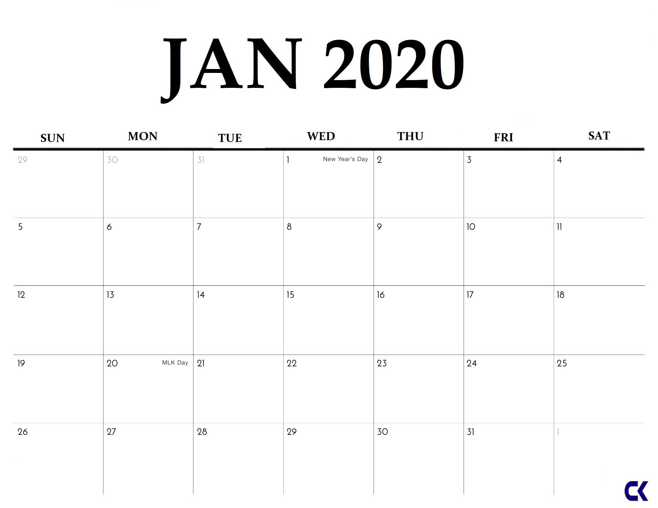 Printable January 2020 Calendar  Calendarkart intended for Jan 2020 Calendar