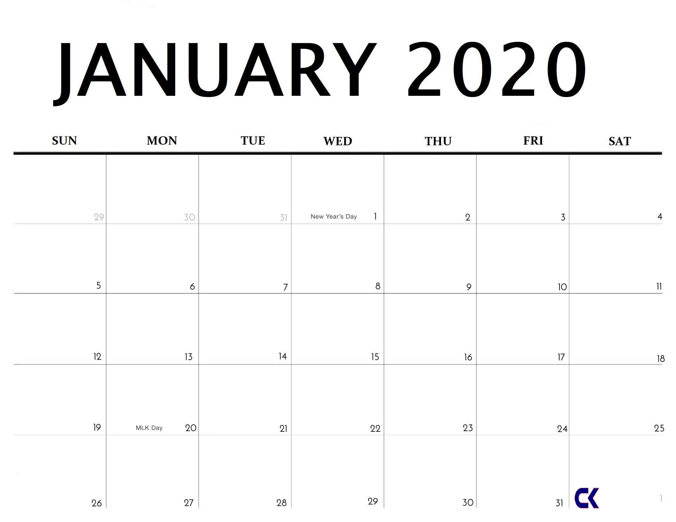 Printable January 2020 Calendar  Calendarkart intended for Printable Calendar Date Range