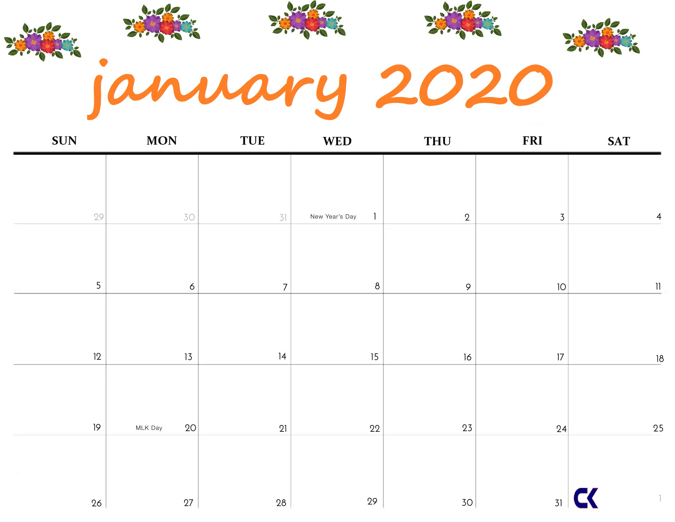 Printable January 2020 Calendar  Calendarkart throughout Jan 2020 Printable Calendar