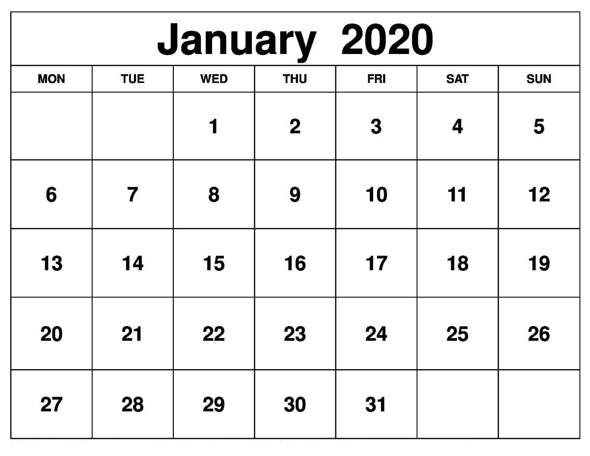 Printable January 2020 Calendar – Daily Planner | 12 Month for January 2020 Calendar Starting Monday