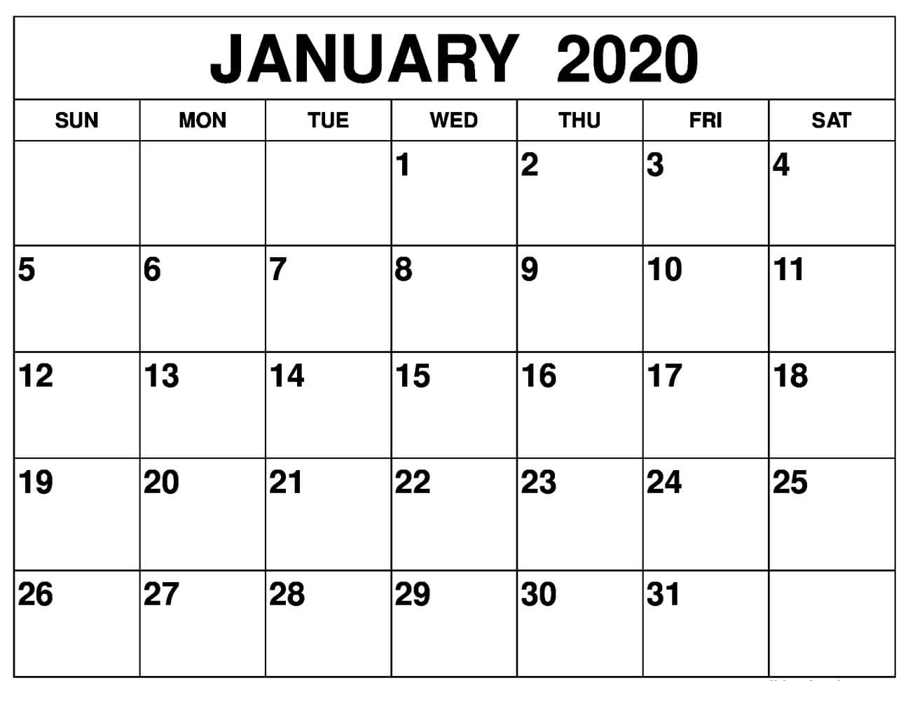 Printable January 2020 Calendar – Daily Planner | 12 Month intended for January 2020 Calendar Blank