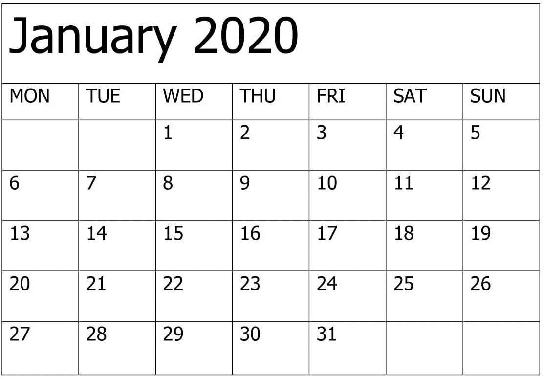 Printable January 2020 Calendar Editable Pages – Free Latest for January 2020 Printable Calendar