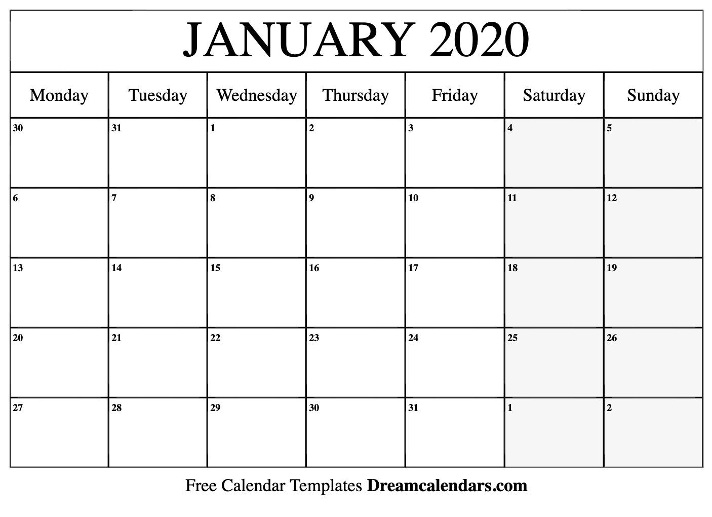 Printable January 2020 Calendar  Kofi ❤️ Where Creators pertaining to January 2020 Calendar Starting Monday