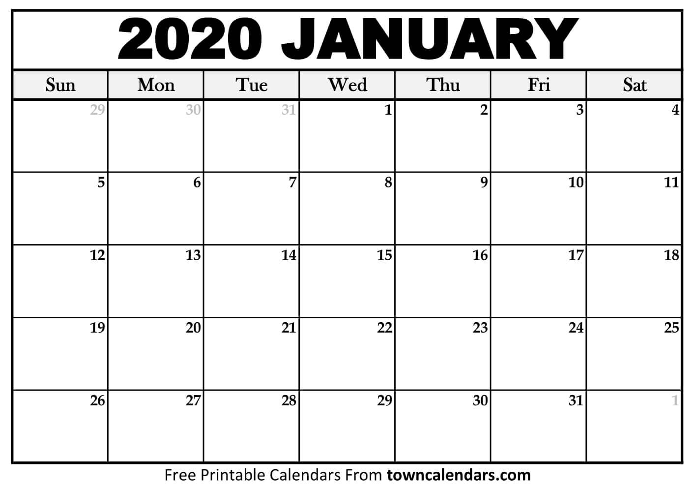 Printable January 2020 Calendar  Towncalendars pertaining to January 2020 Calendar Blank