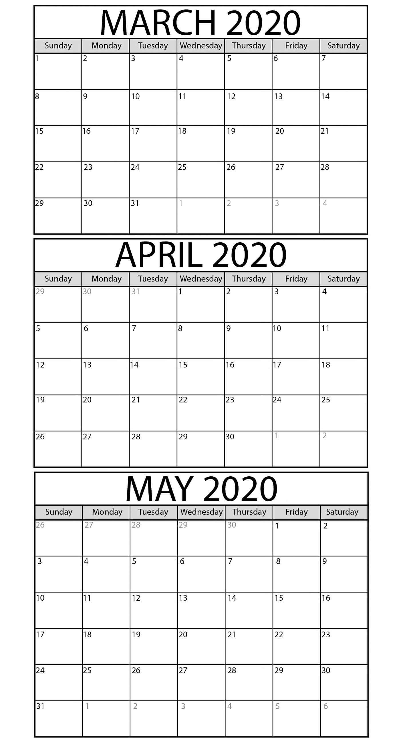 Printable March To May 2020 Calendar Templates  2019 pertaining to Printable 3 Month Calendar