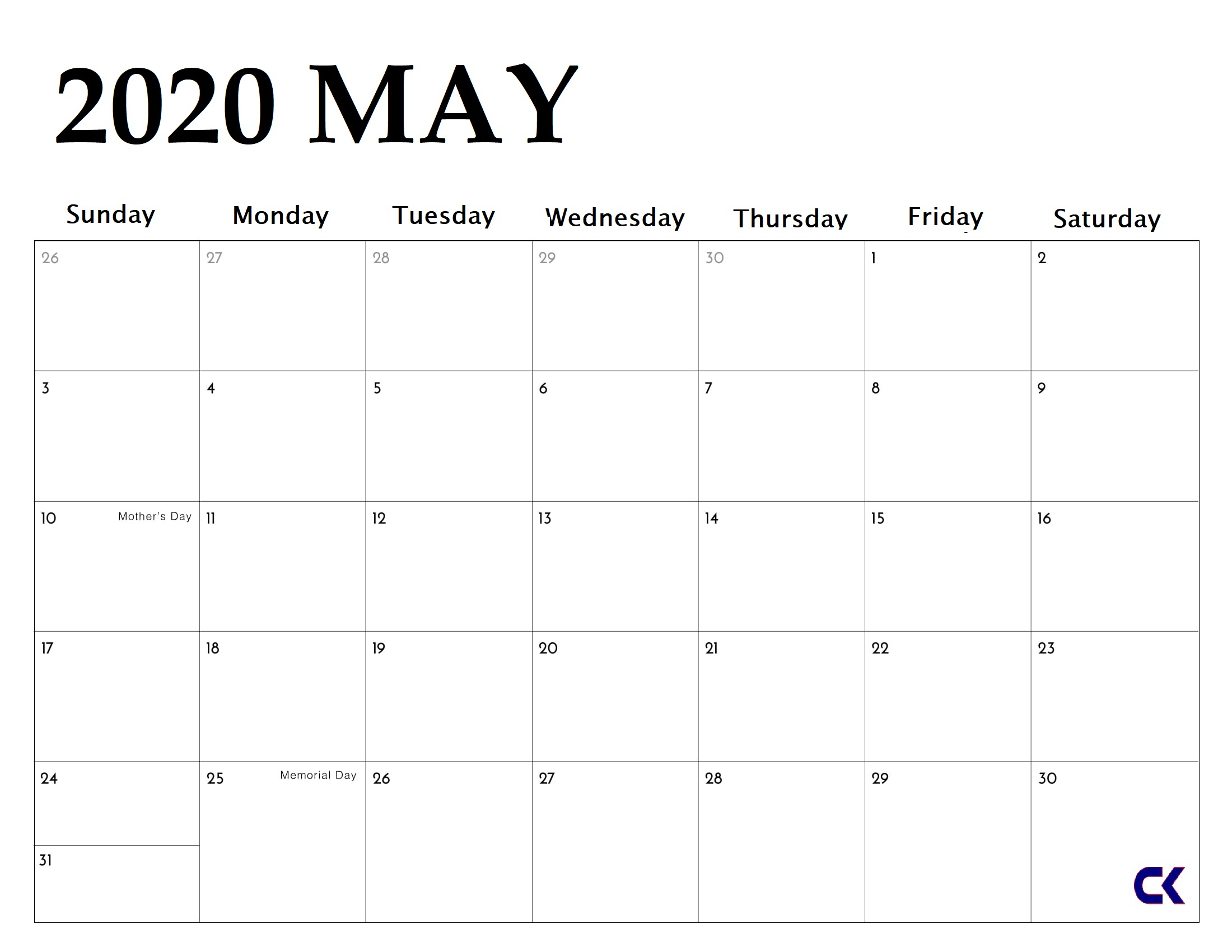 Printable May 2020 Calendar  Calendarkart in Year Long Calendar Printable