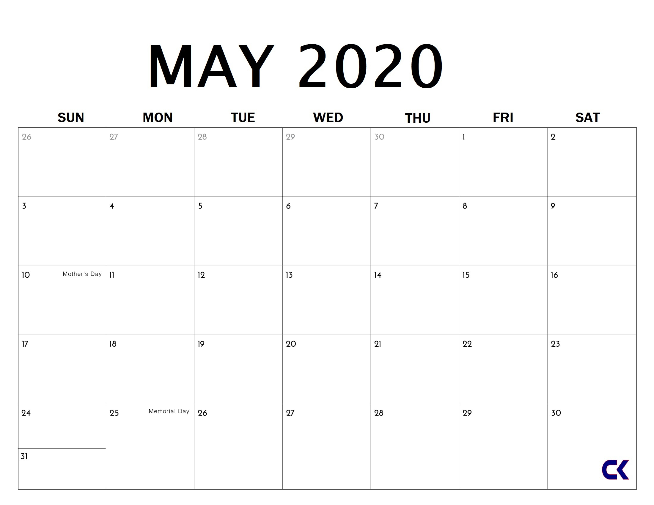 Printable May 2020 Calendar  Calendarkart regarding Blank Calendar 2020 Printable