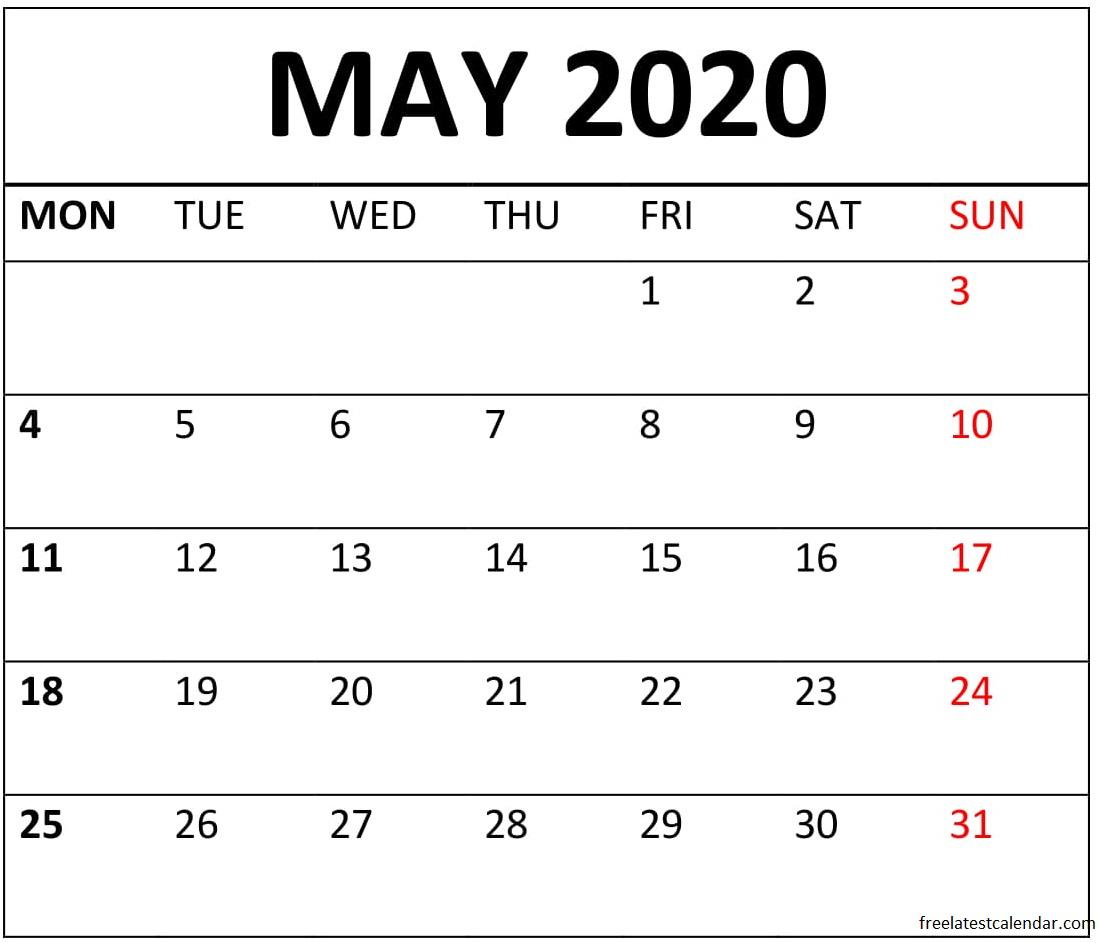 Printable May 2020 Calendar Date Range – Free Latest with regard to Printable Calendar Date Range